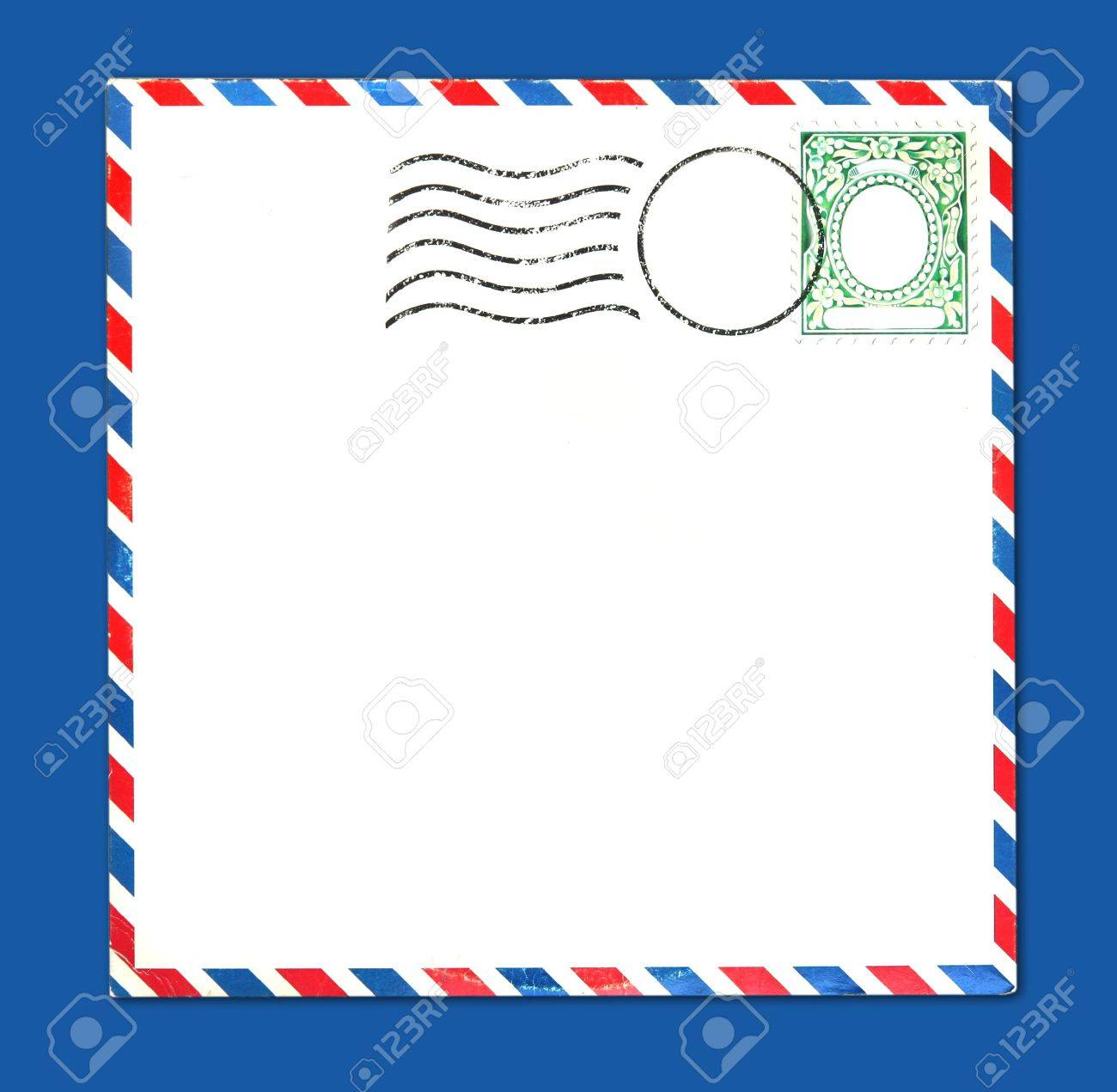 Old Airmail Parcel Type Envelope With Postal Stamp and Stripes