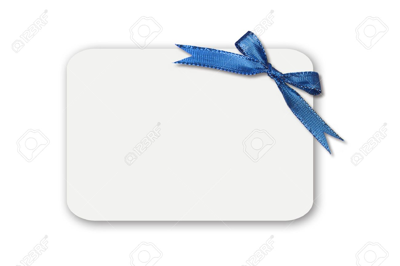 Blue Bow On A White Blank Gift Card Or Tag Insert Your Own Message