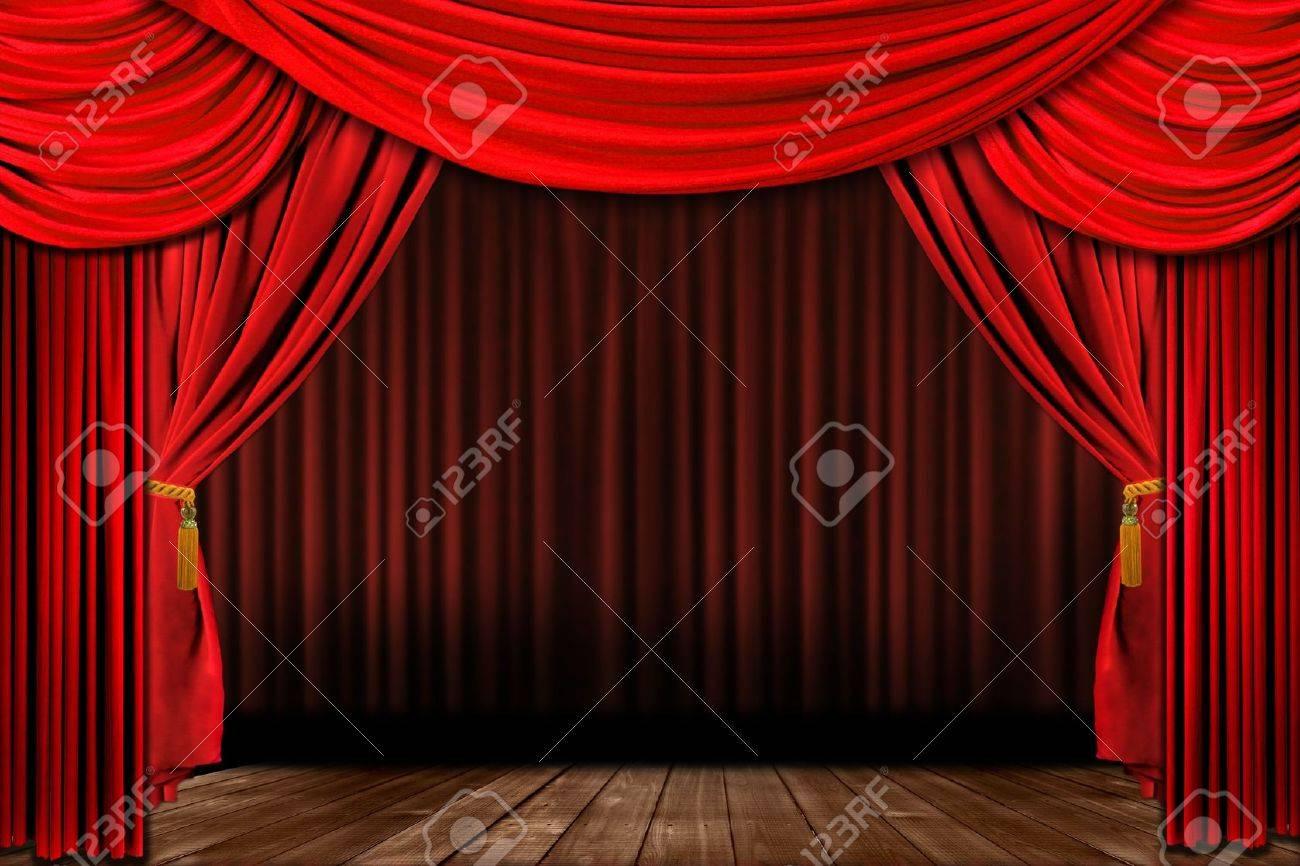 Dramatische Rot Altmodische Elegante Theater Mit Samt Vorhang