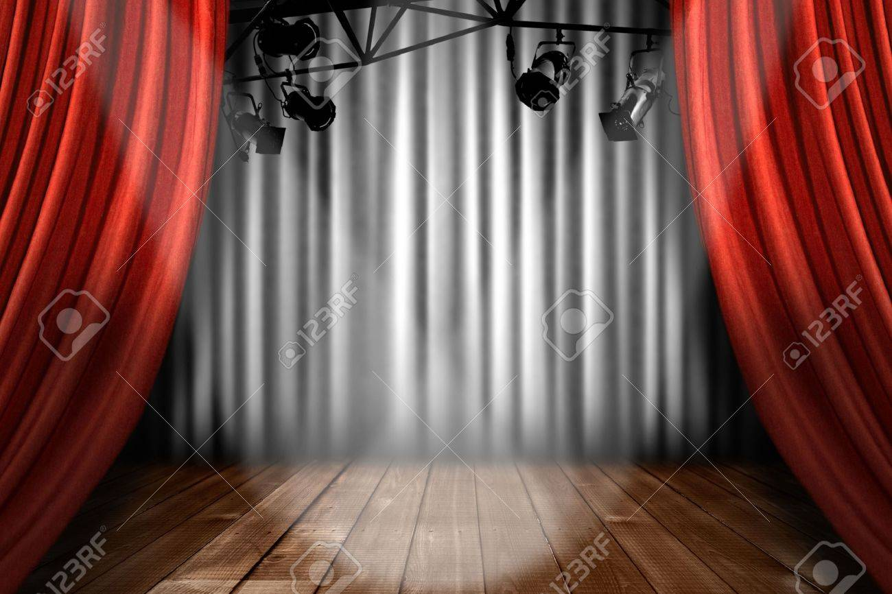 Stock photo dramatic red old fashioned elegant theater stage stock - Archiitecture Red Stage Theater Stage With Spotlight Performance Lights Showing