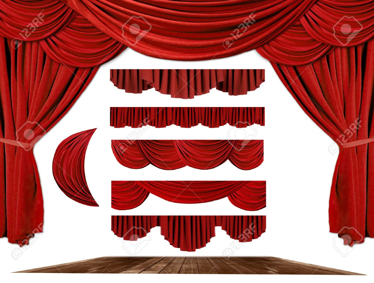 Stock photo dramatic red old fashioned elegant theater stage stock - Red Dramatic Old Fashioned Elegant Theater Stage Elements Of Swags To Make Your Own Background Stock