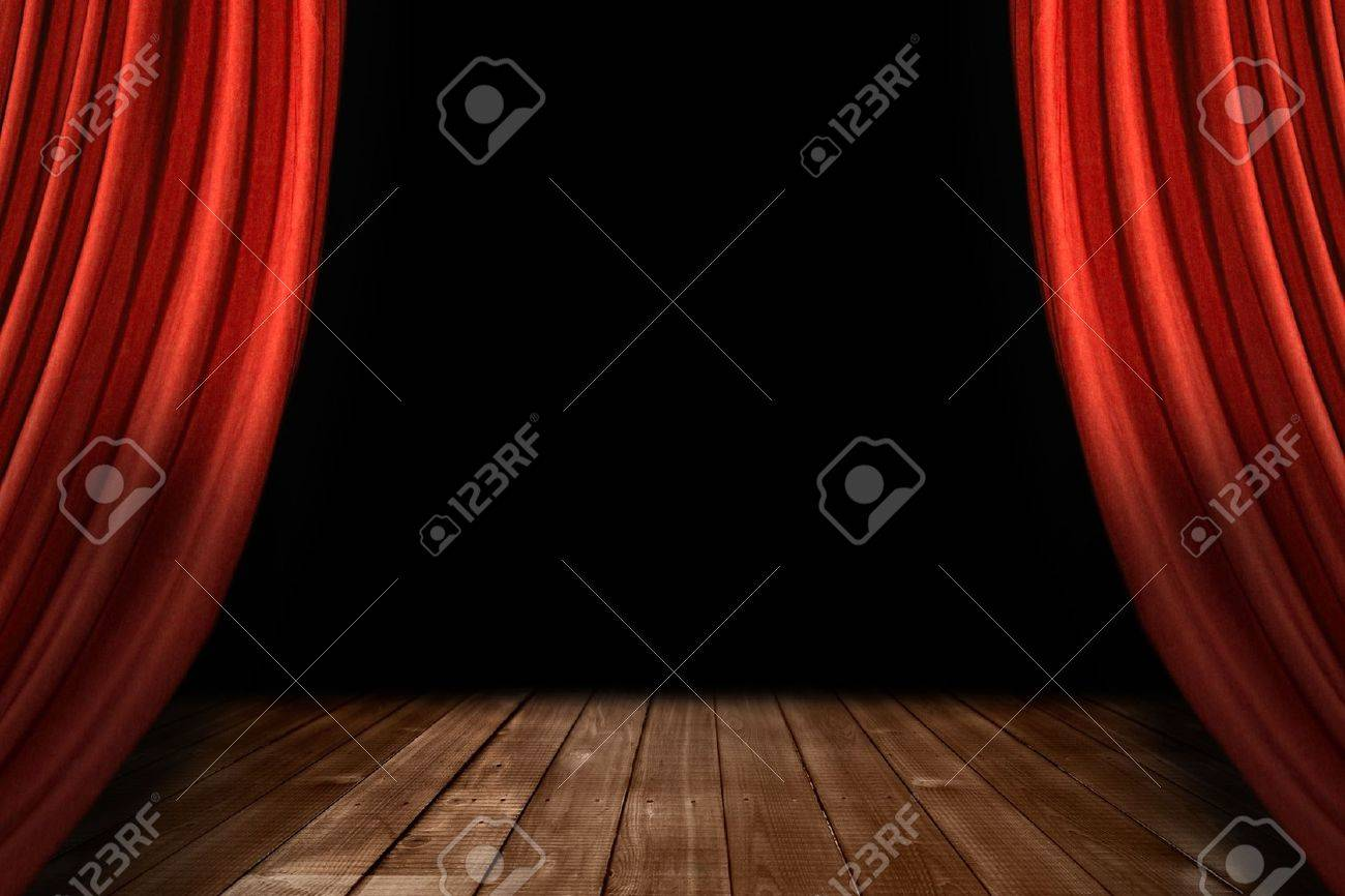 Stock photo dramatic red old fashioned elegant theater stage stock - Archiitecture Swooping Theater Stage Drapes With Wooden Floor And Black Background