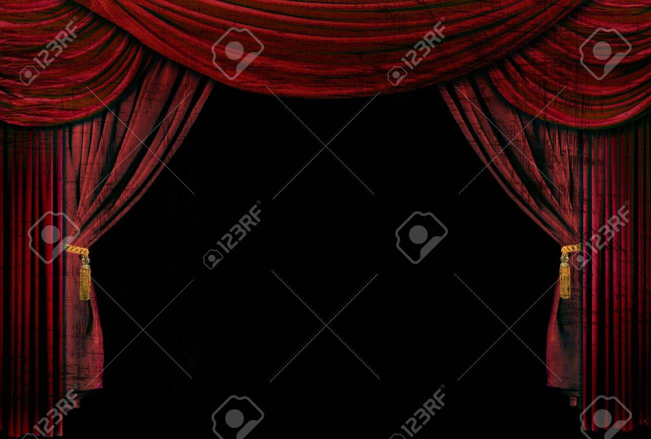 Stock photo dramatic red old fashioned elegant theater stage stock - Old Fashioned Elegant Theater Stage With Velvet Curtains Stock Photo 4601987