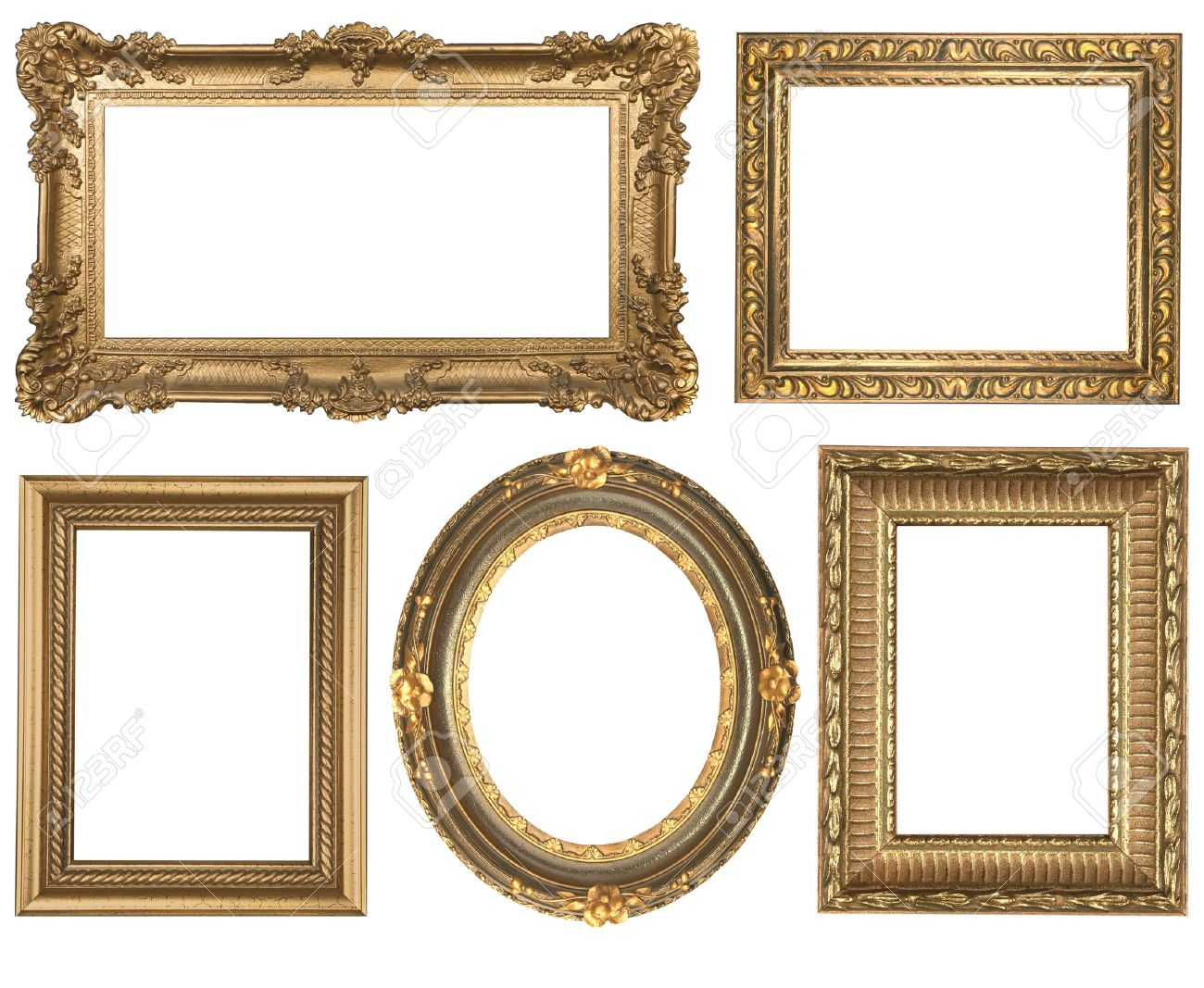 Decorative Gold Empty Oval and Square Wall Picture Frames Insert Your Own  Design Stock Photo -