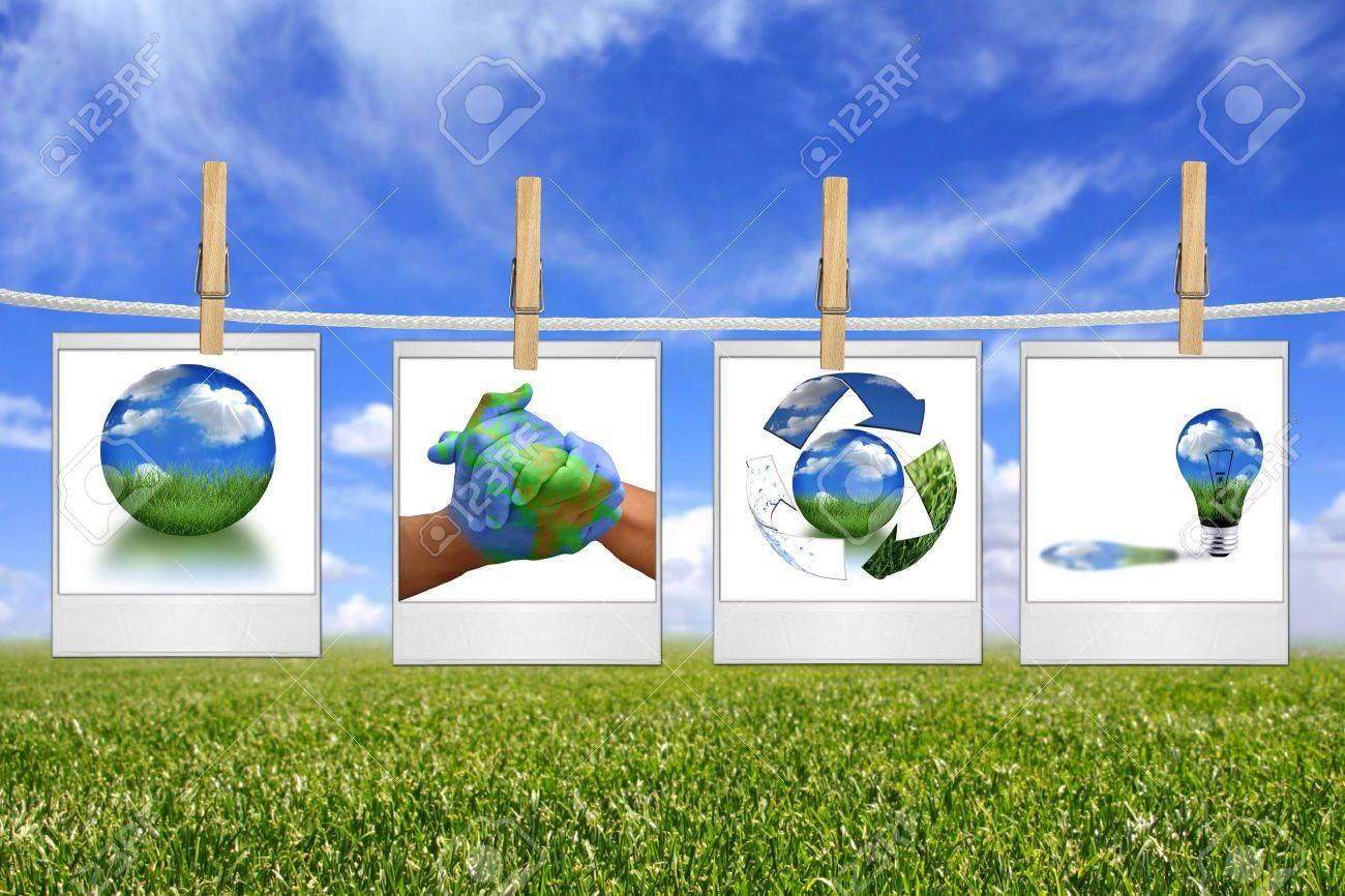 Global Concept of Green Energy Solutions Hanging on a Rope Inside Film Blanks Stock Photo - 4703360