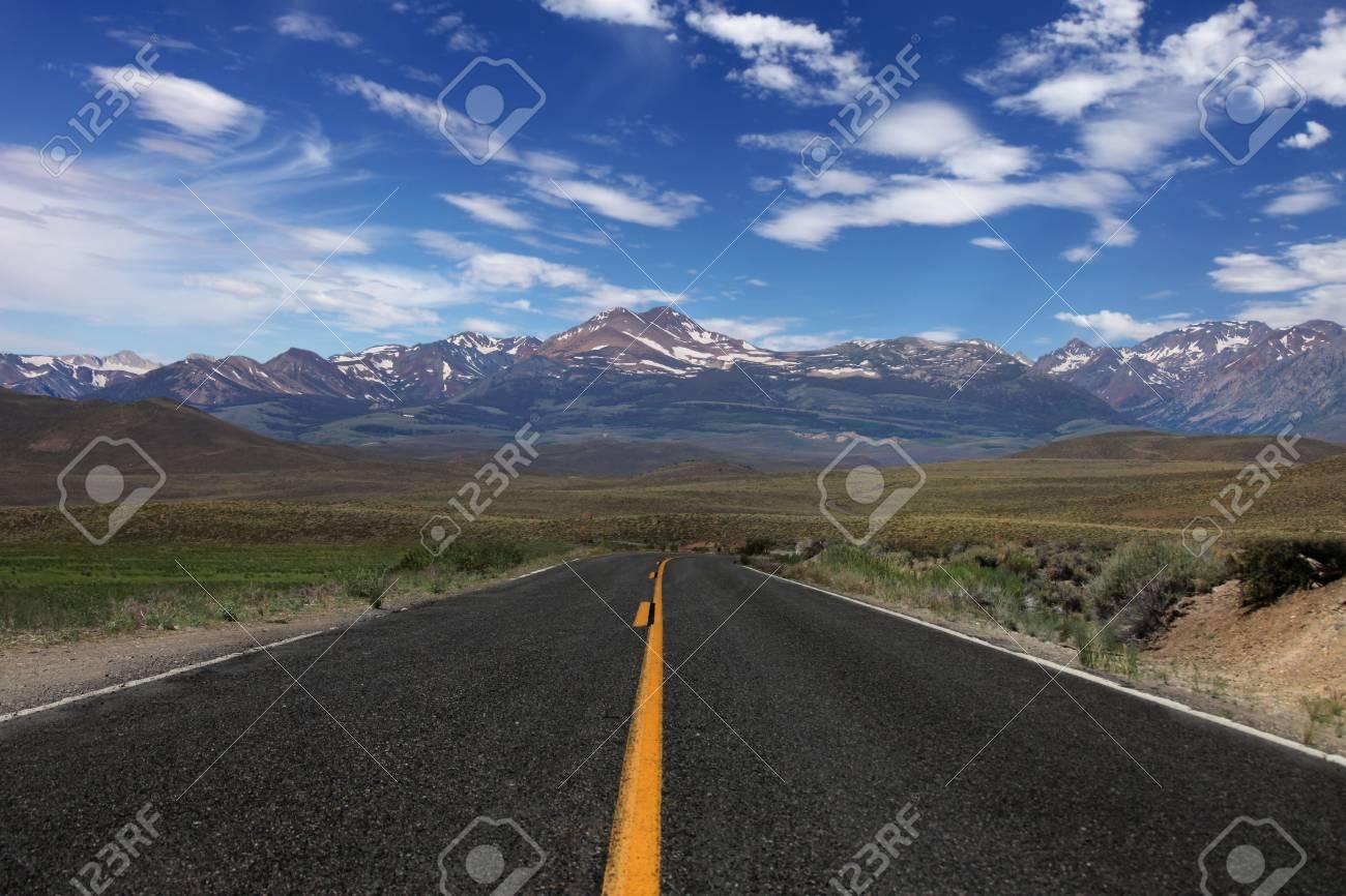 Wide Open Rural Road in the Eastern Sierras Stock Photo - 5315916
