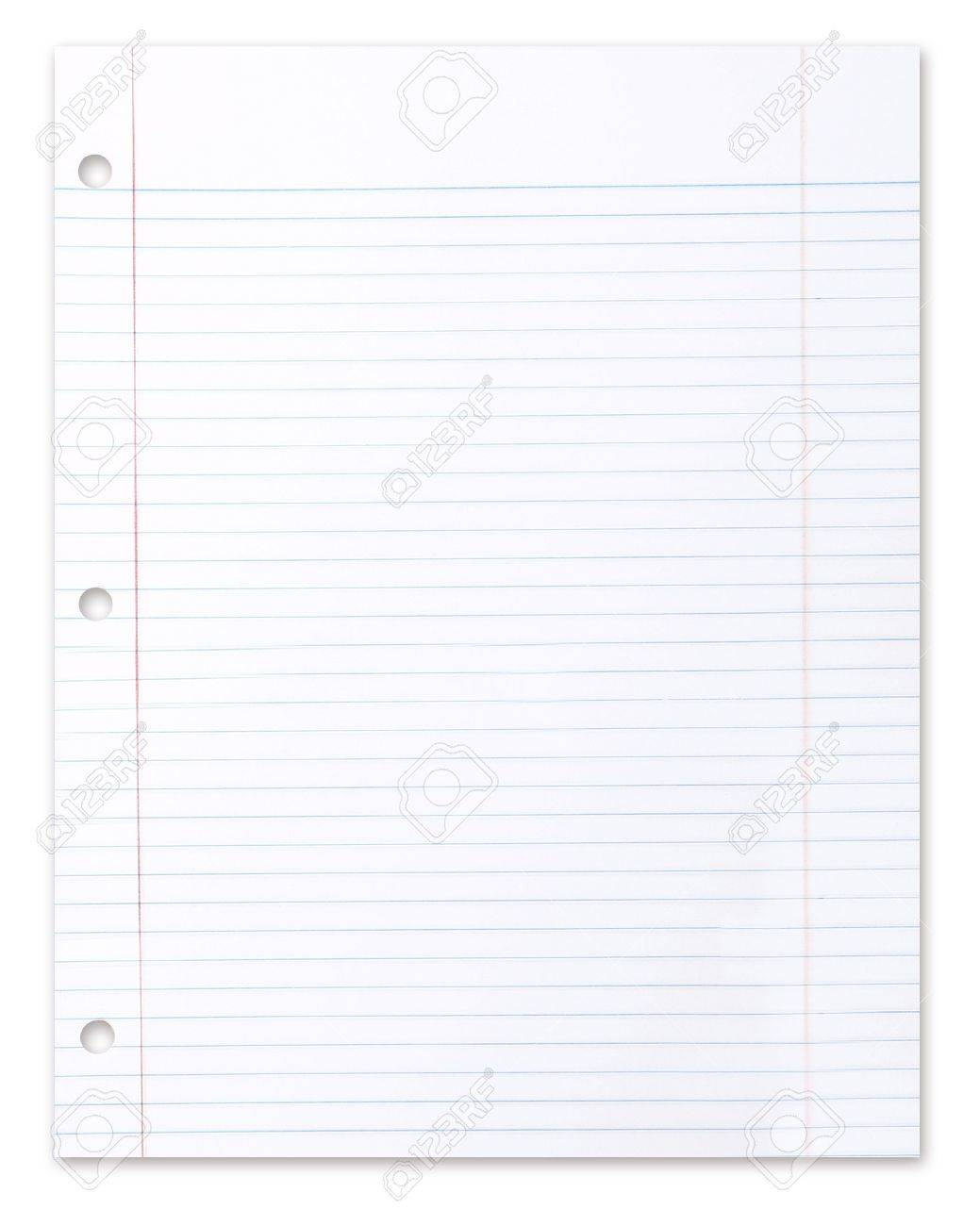 Blank Piece Of School Lined Paper On White With A Drop Shadow – Lined Blank Paper