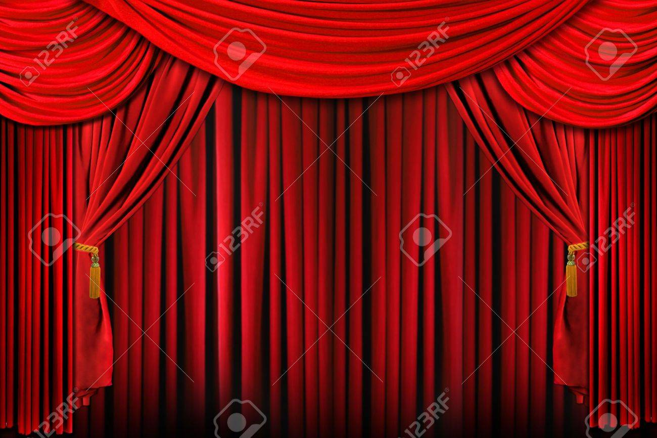 Curtains From A Stage In Bright Red Dramatic Lighting Stock Photo