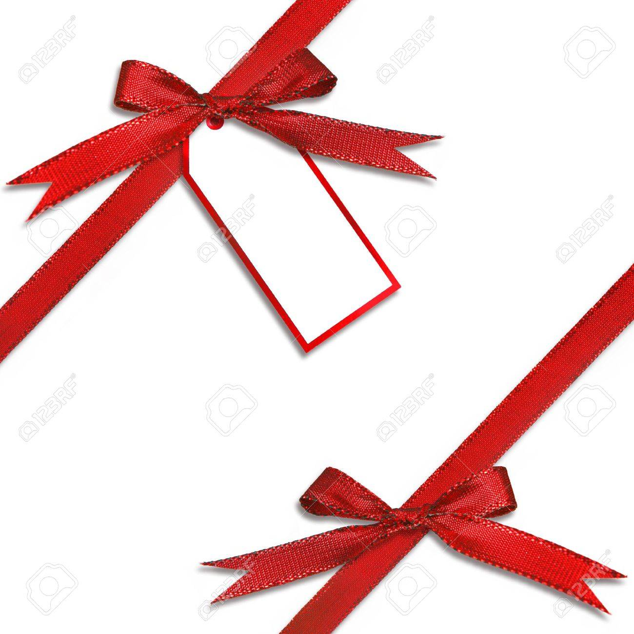 Christmas Gift Tag.Christmas Gift Tag Hanging From A Present With Tied Red Bow