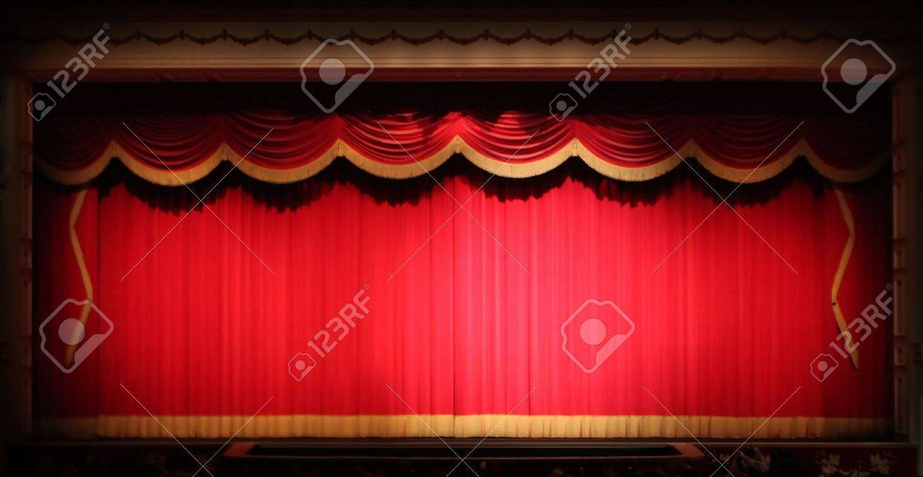 Real theater curtains - Real Stage Theater Drape Background With Yellow Vintage Trim Image Has Slight Noise Due To