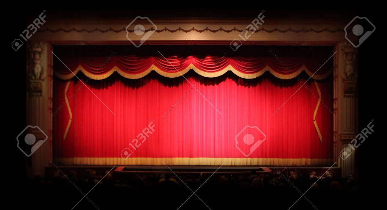 Empty stage curtains with lights - Real Stage Theater Drapes With Spotlights Image Has Some Noise Due To Low Lighting Conditions