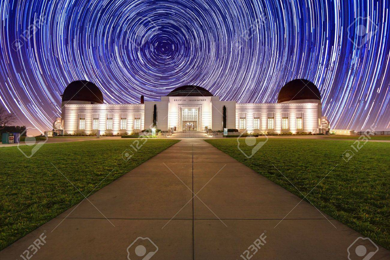 Star Trail Timelapse Behind the Griffith Observatory in Los Angeles, CA - 9863195