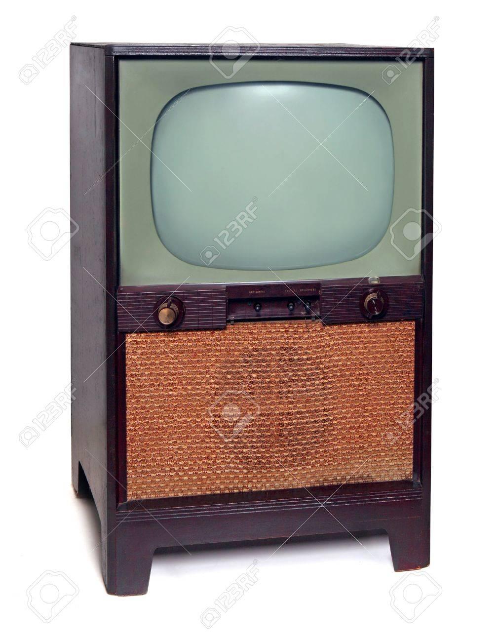 1950 Vintage TV Television  Isolated on White Background Stock Photo - 10425115