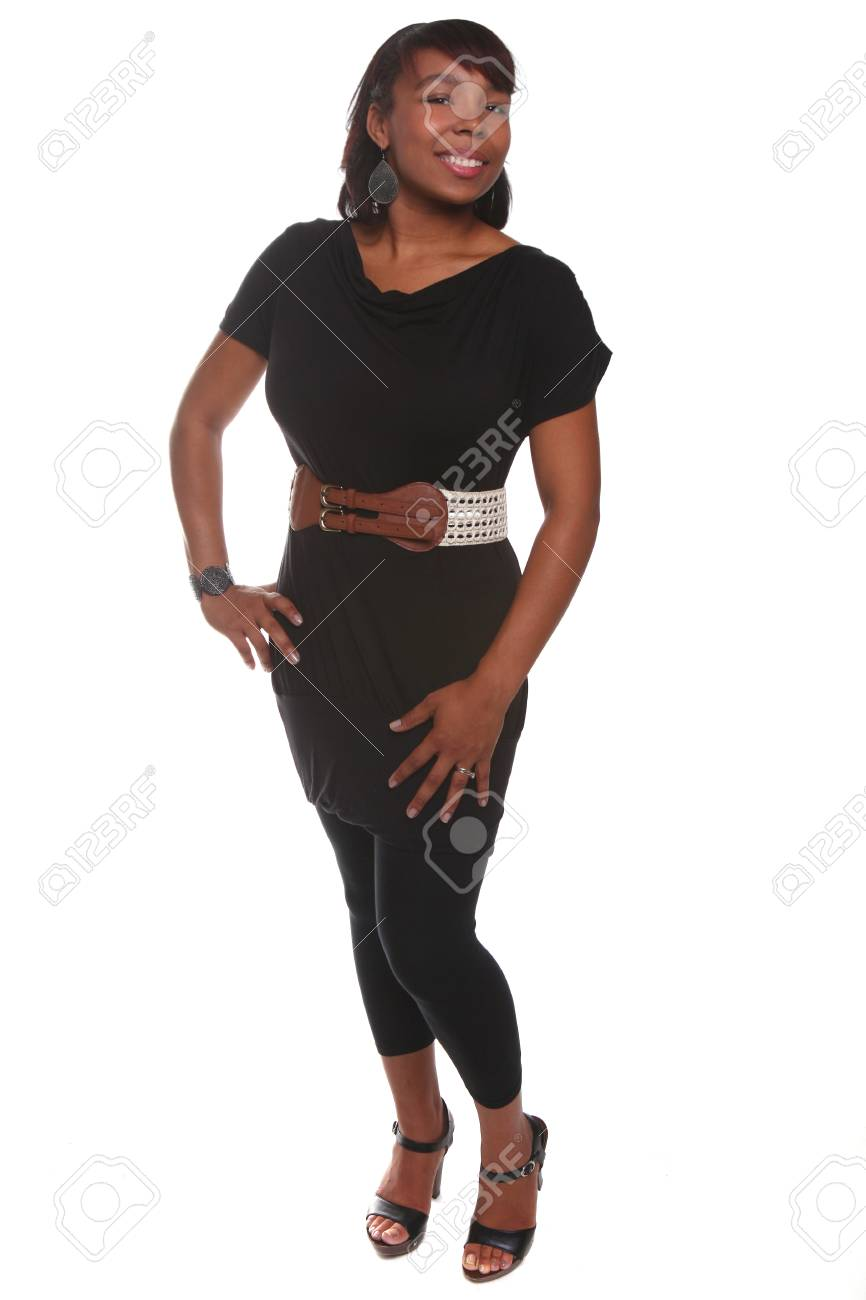 Portrait of beautiful African American woman on white background Stock Photo - 11227208