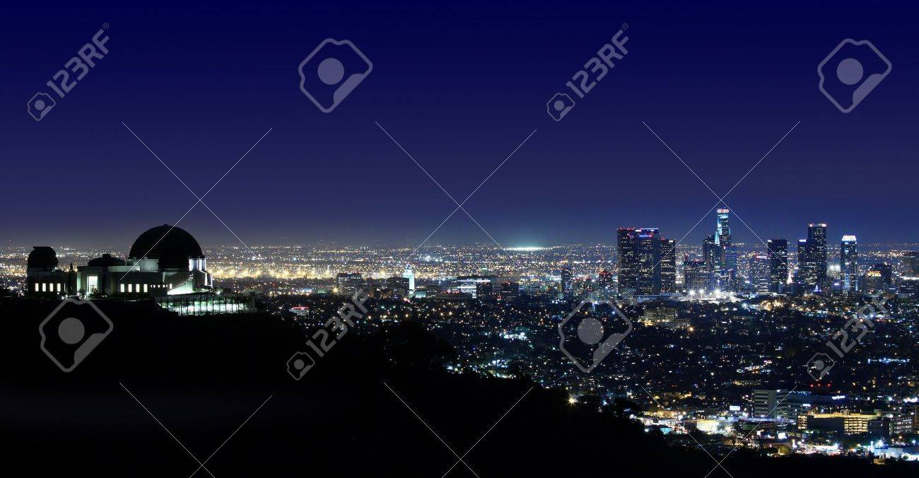 Arial View of Los Angeles Above Griffith Observatory Los Angeles, California - 13096327