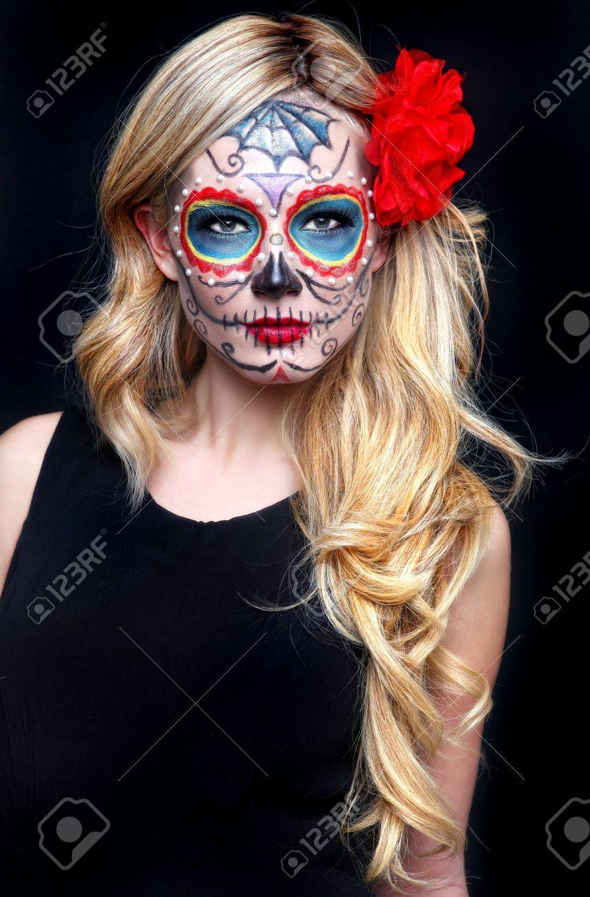 Stunning Blonde Woman With Painted Sugar Skull Art Stock Photo - 17457798