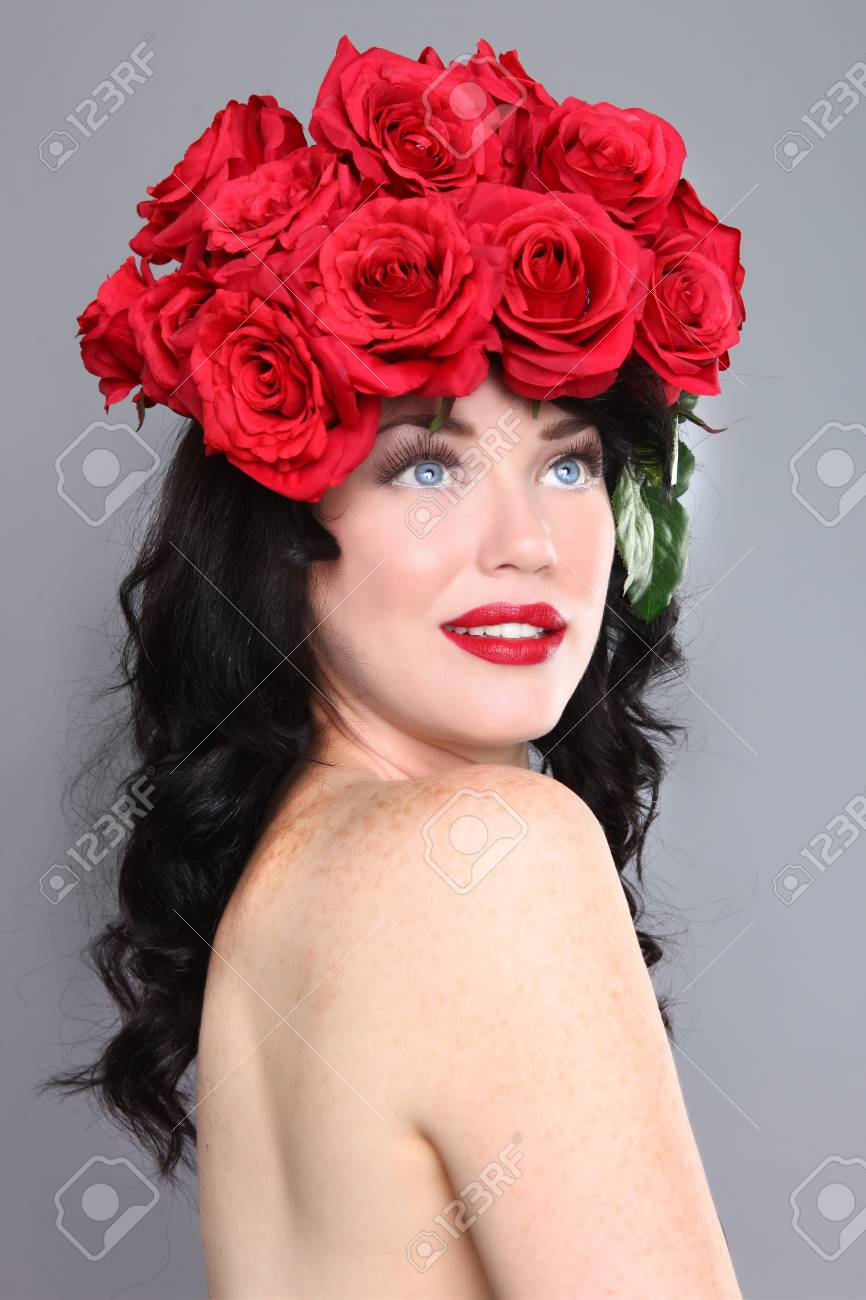 Beautiful woman with flowers in her hair stock photo picture and beautiful woman with flowers in her hair stock photo 18349040 izmirmasajfo