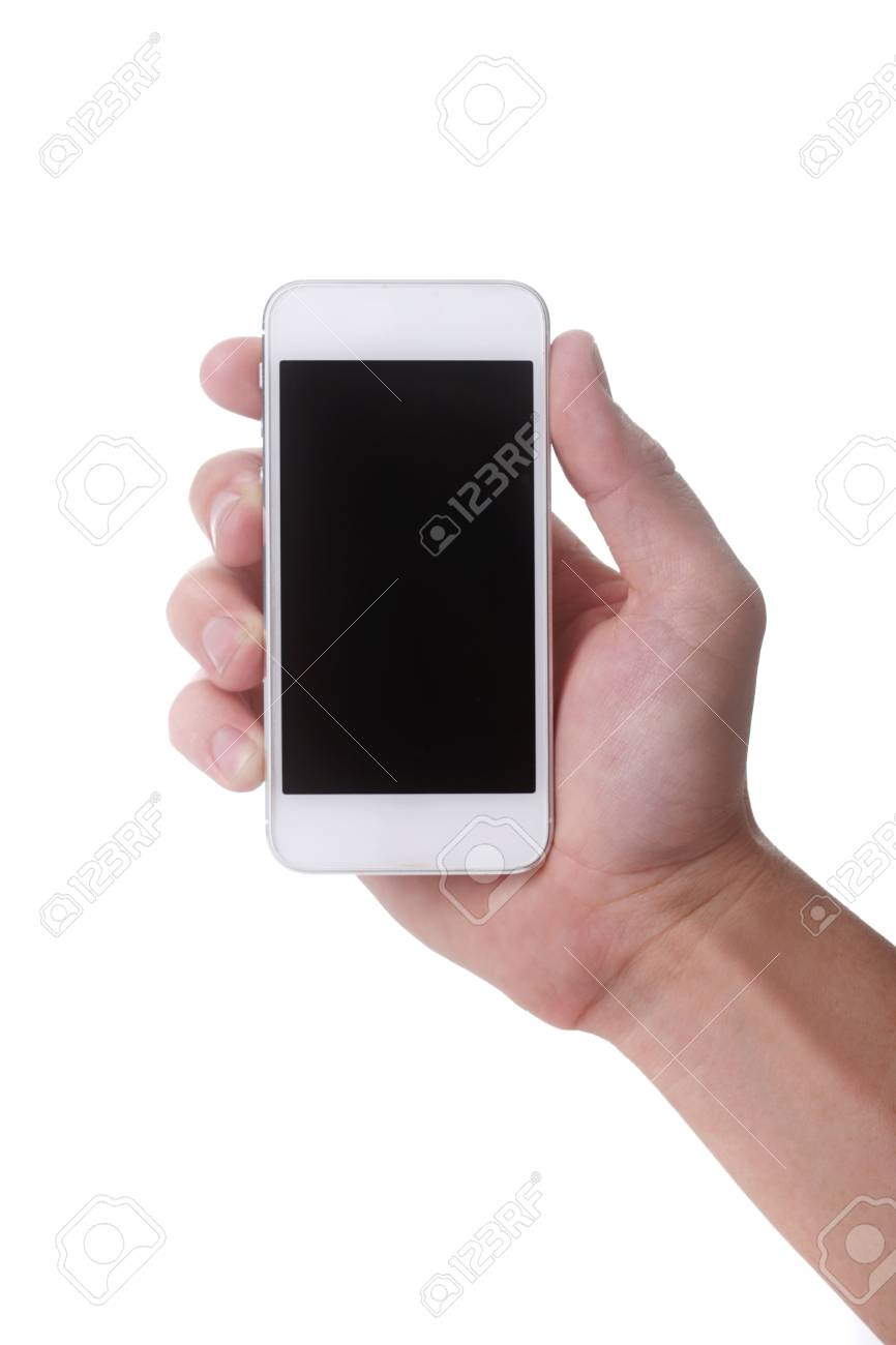 Male Hand Holding a Touch Smart Mobile Phone Stock Photo - 19485601