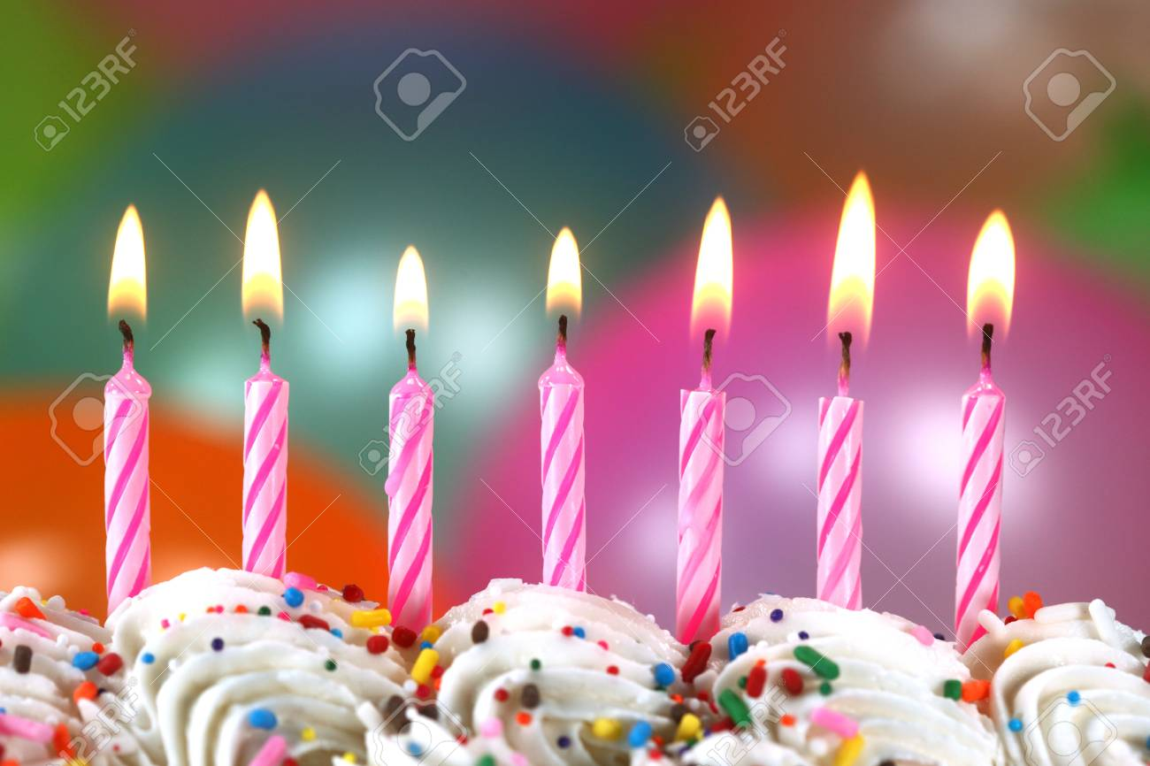 Happy Birthday Celebration With Balloons Candles And Cake Stock Photo