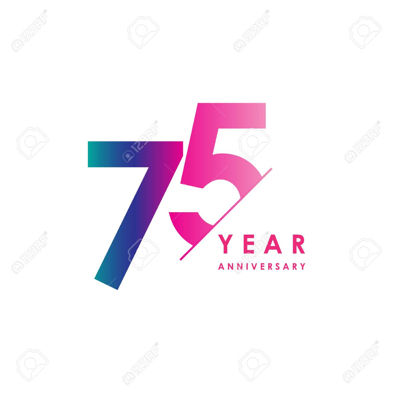 75 Year Anniversary Vector Template Design Illustration - 119347807