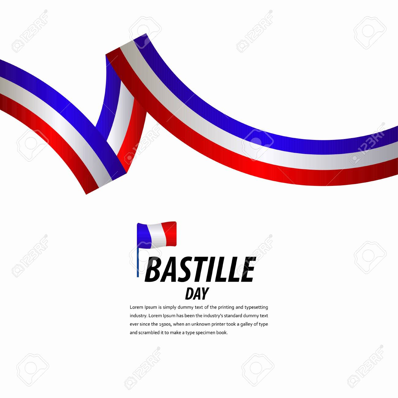 Happy Bastille Day Celebration, Poster, Ribbon banner vector template design illustration - 137399117