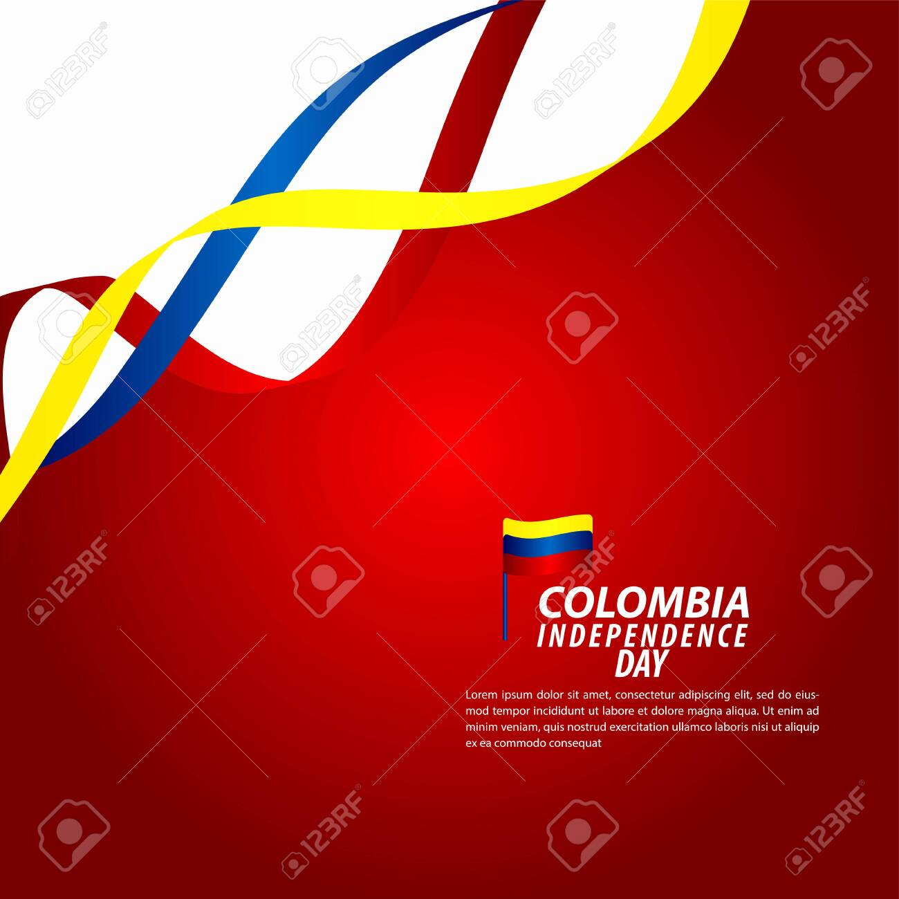 Colombia Independence Day Celebration Vector Template Design Illustration - 136723883