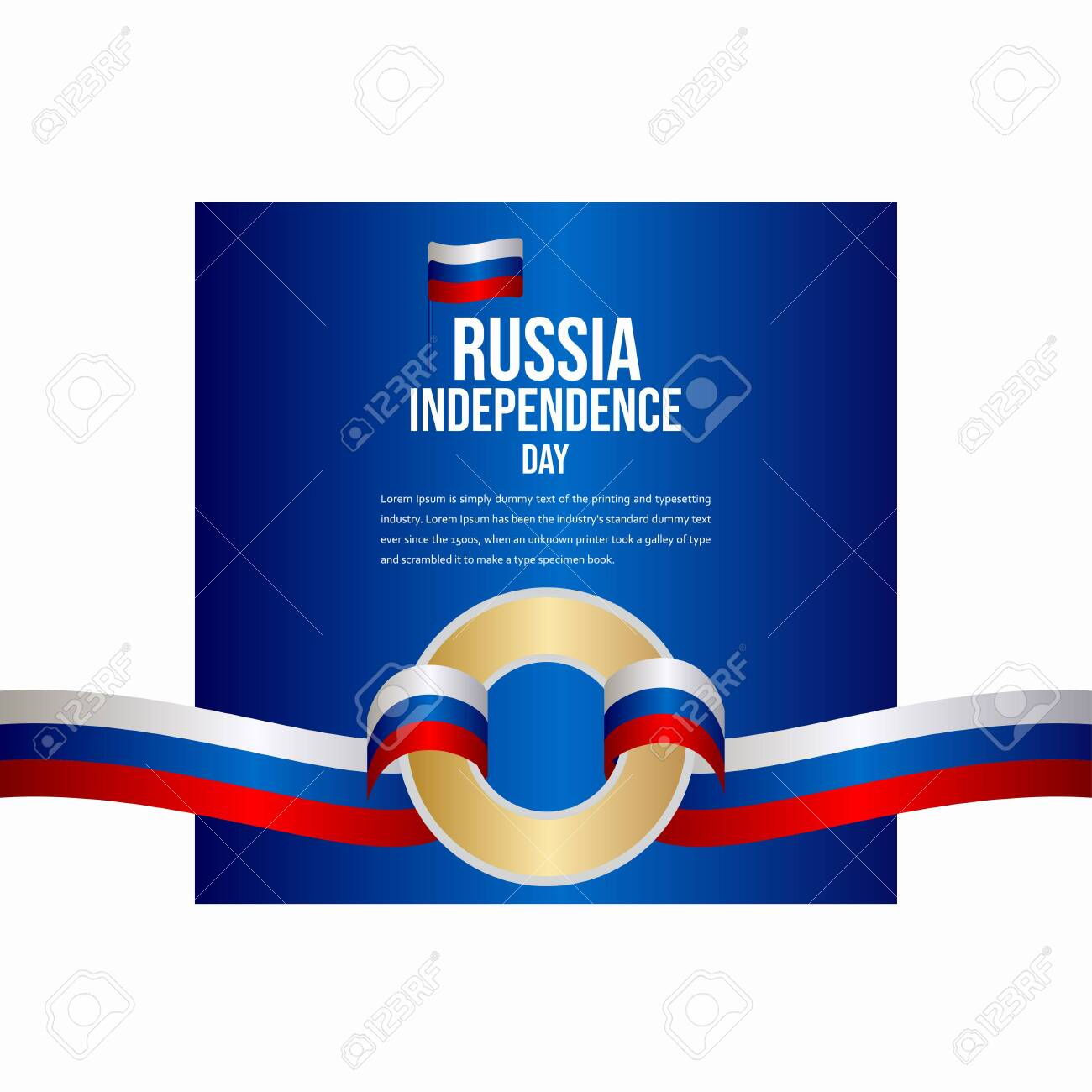 Russia Independence Day Celebration Vector Template Design Illustration - 136866526