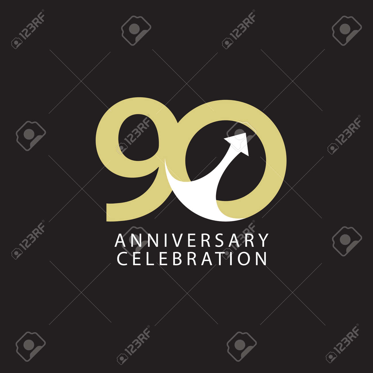 90 Years Anniversary Celebration Vector Template Design Illustration - 163698078