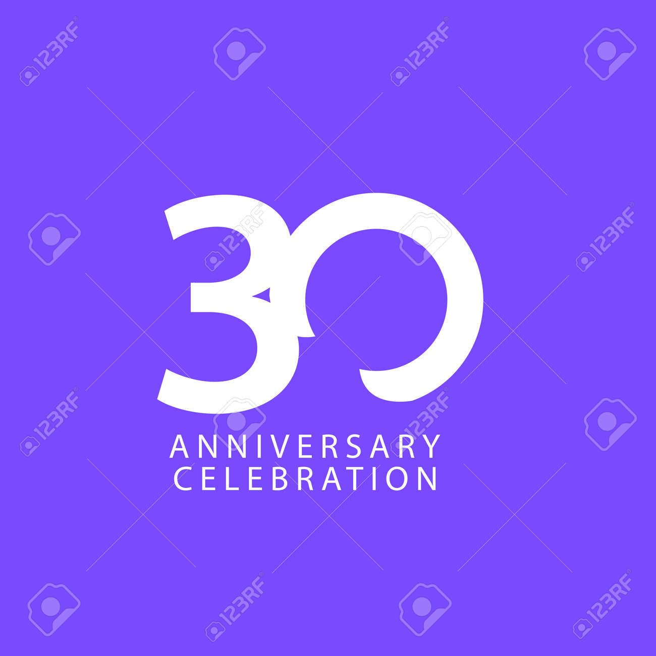 30 Years Anniversary Celebration Vector Template Design Illustration - 163698082