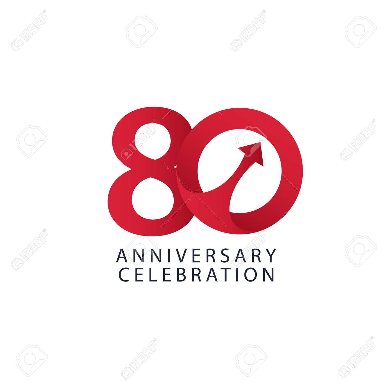 80 Years Anniversary Celebration Vector Template Design Illustration - 163698094