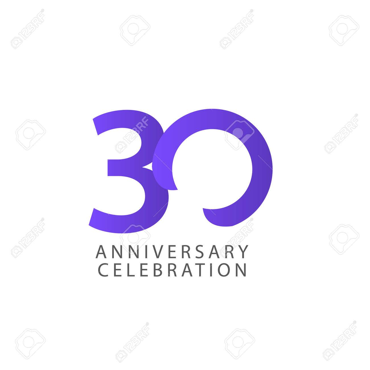 30 Years Anniversary Celebration Vector Template Design Illustration - 163698159