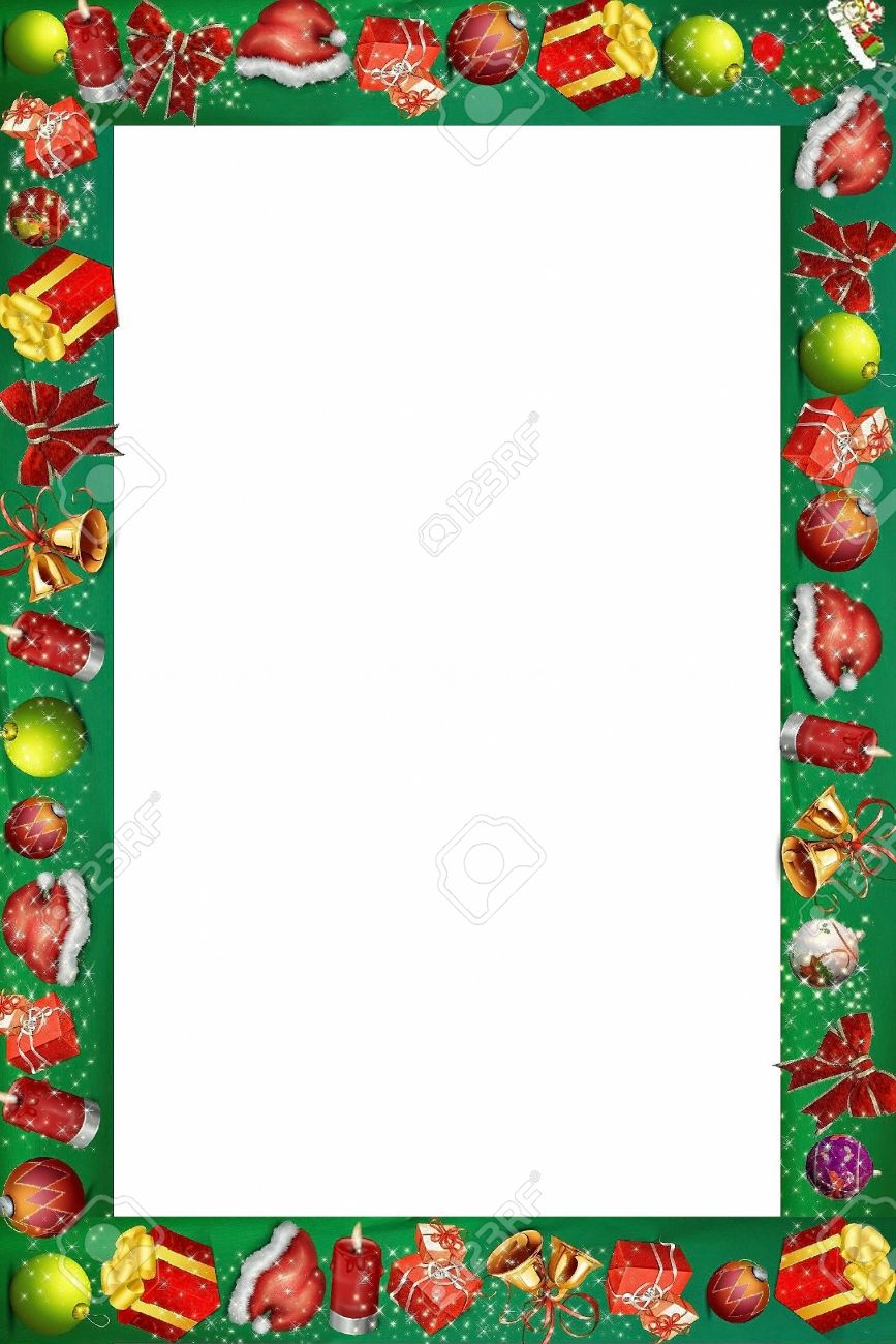 christmas border or frame for scrapbook and collage crafts stock