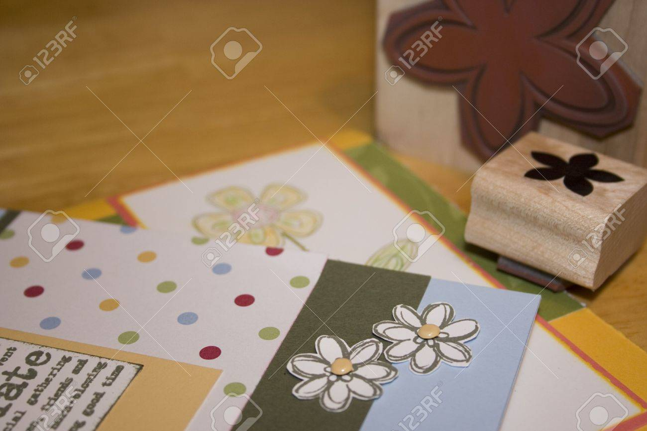 How to scrapbook greeting cards - Stock Photo Homemade Handstamped Greeting Cards And Scrapbooking Projects