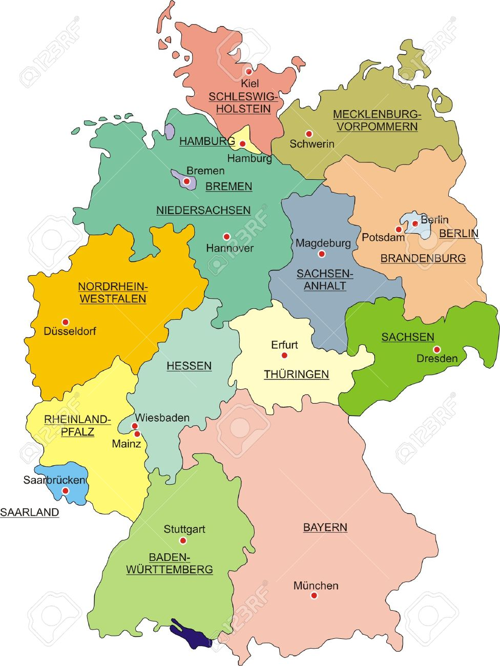 Map Of Germany National Boundaries And National Capitals Royalty - Germany map mainz