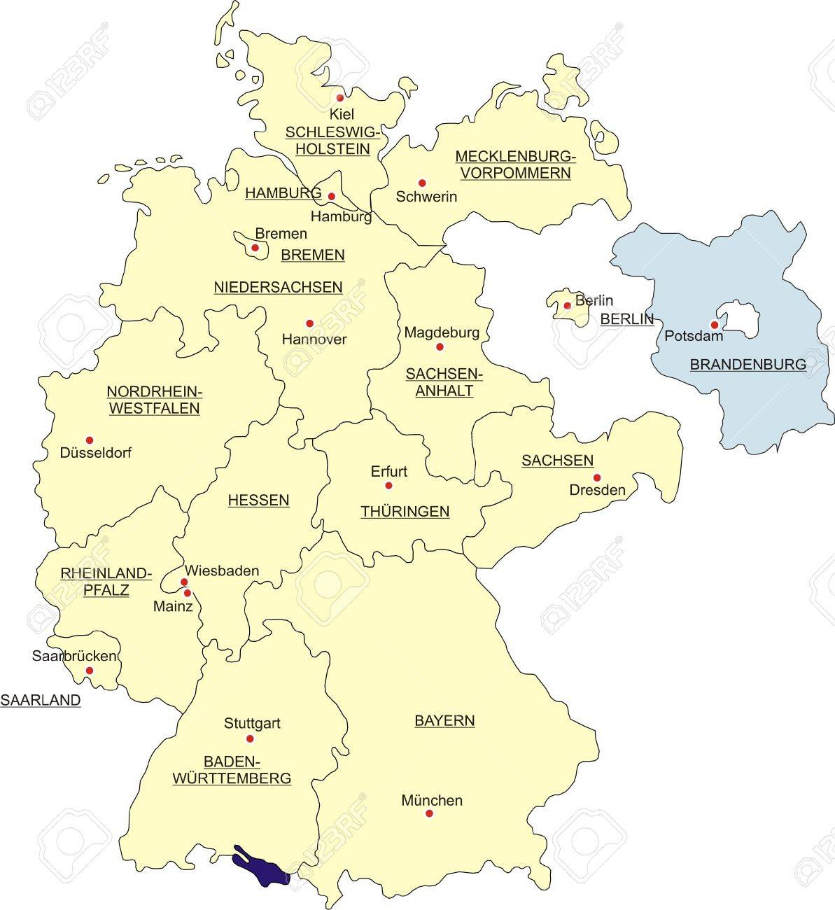 Bundesland Karte.Stock Photo