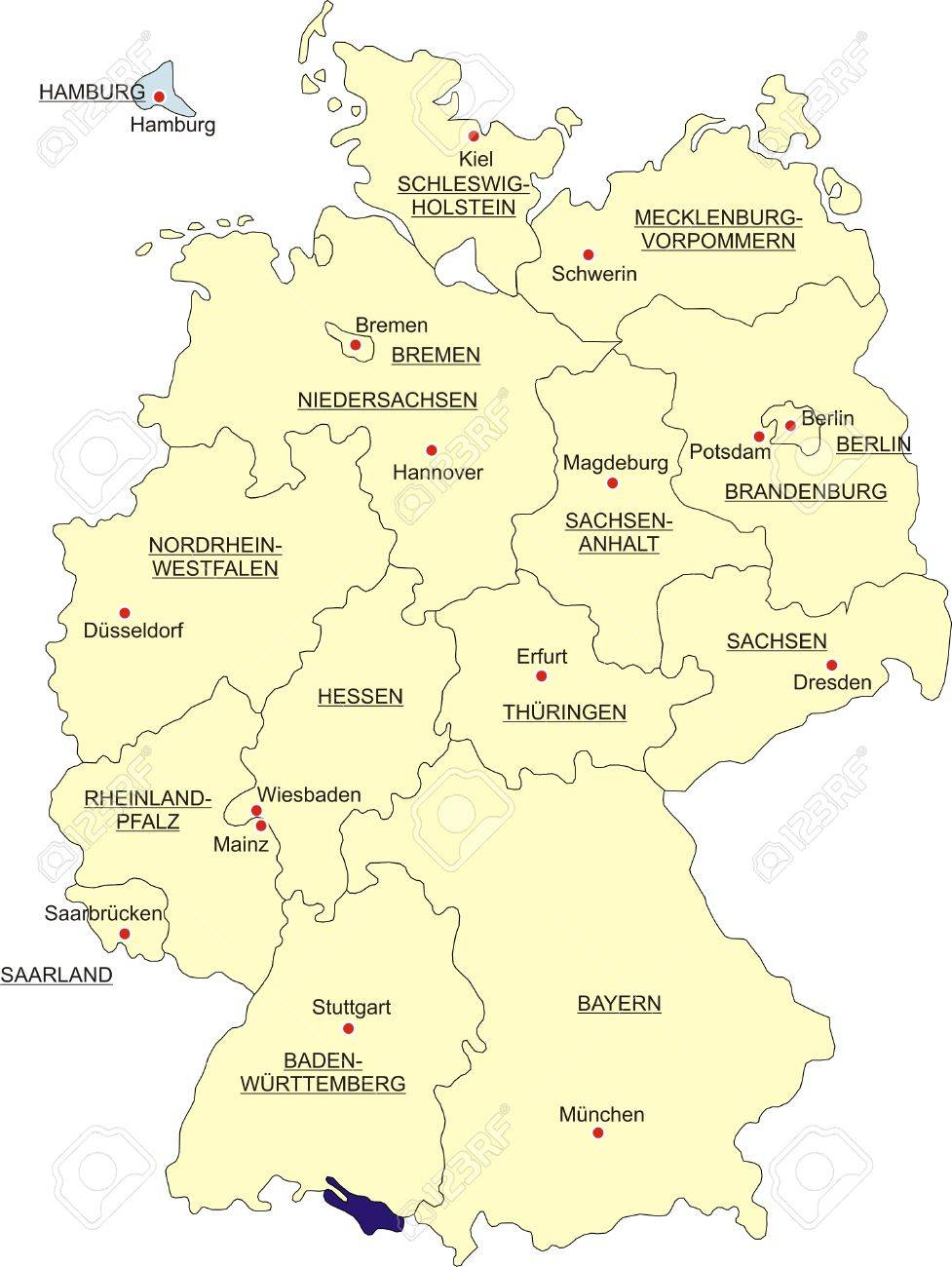 Map Of Germany National Boundaries And National Capitals State - Germany map erfurt
