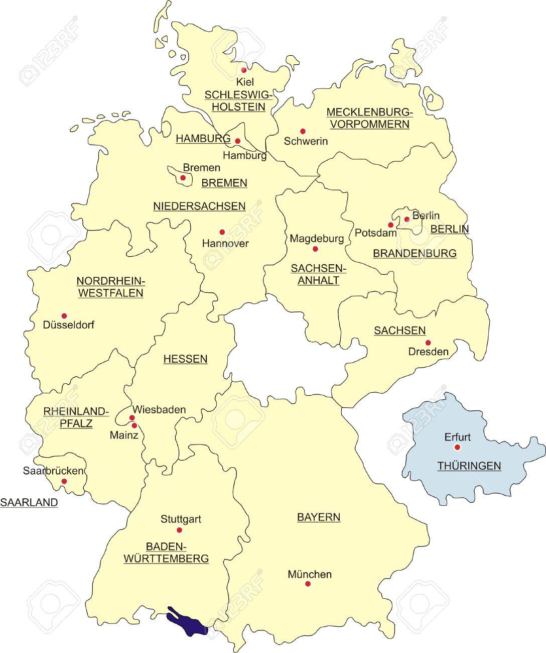 Carte Allemagne Thuringe.Carte De L Allemagne Des Frontieres Nationales Et Des Capitales