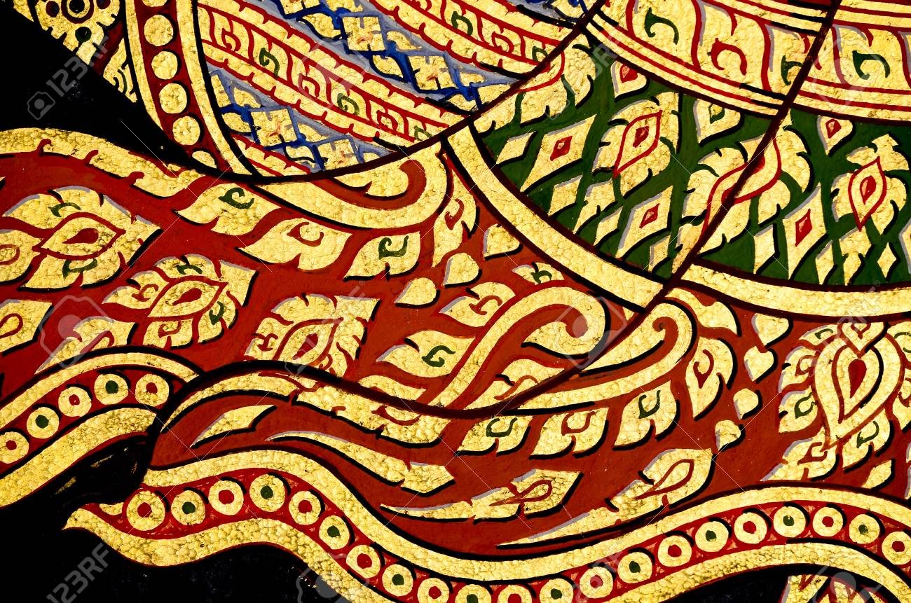 Vintage traditional Thai style art painting on temple for background Stock Photo - 11027787