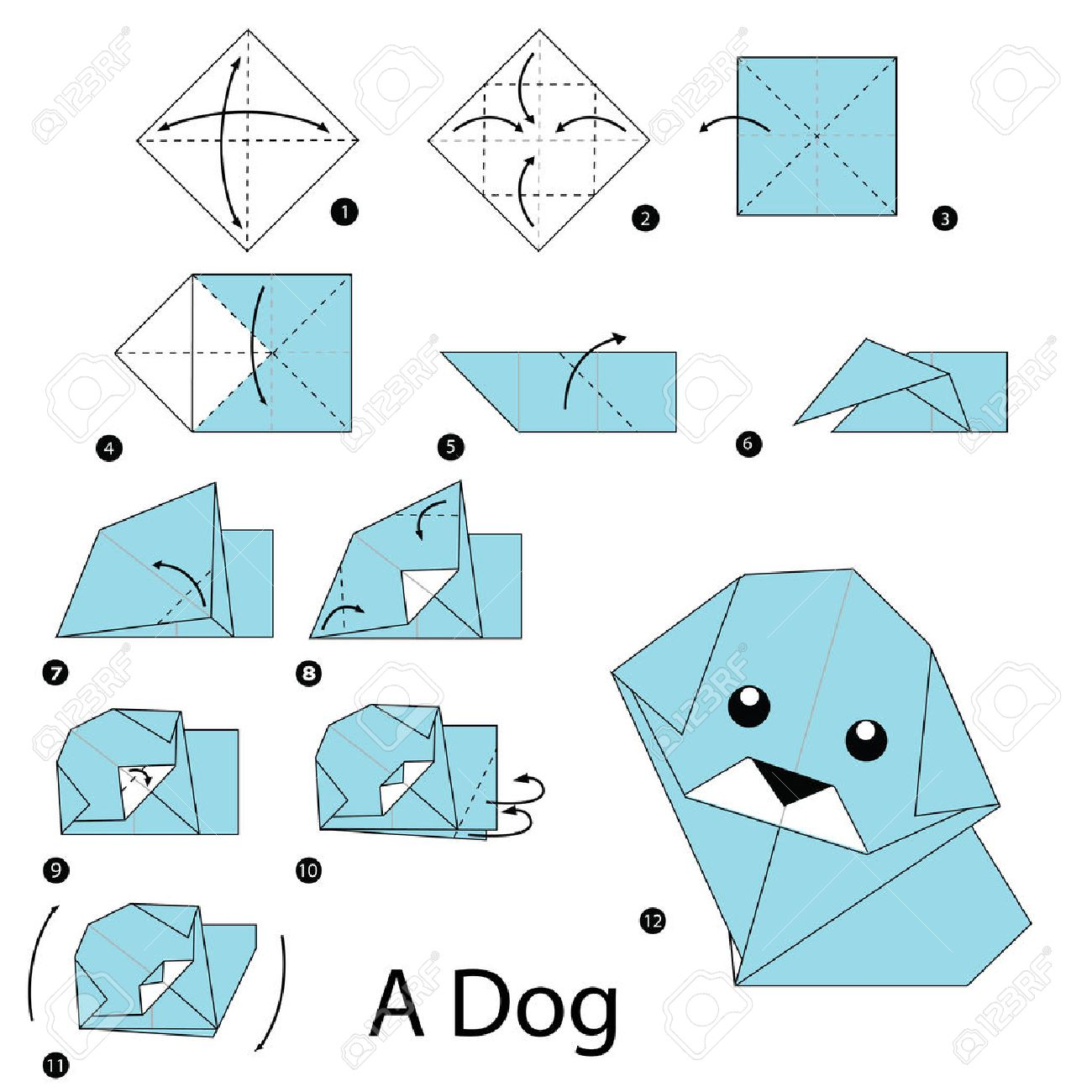Step by step instructions how to make origami dog royalty free step by step instructions how to make origami dog stock vector 46971247 jeuxipadfo Images
