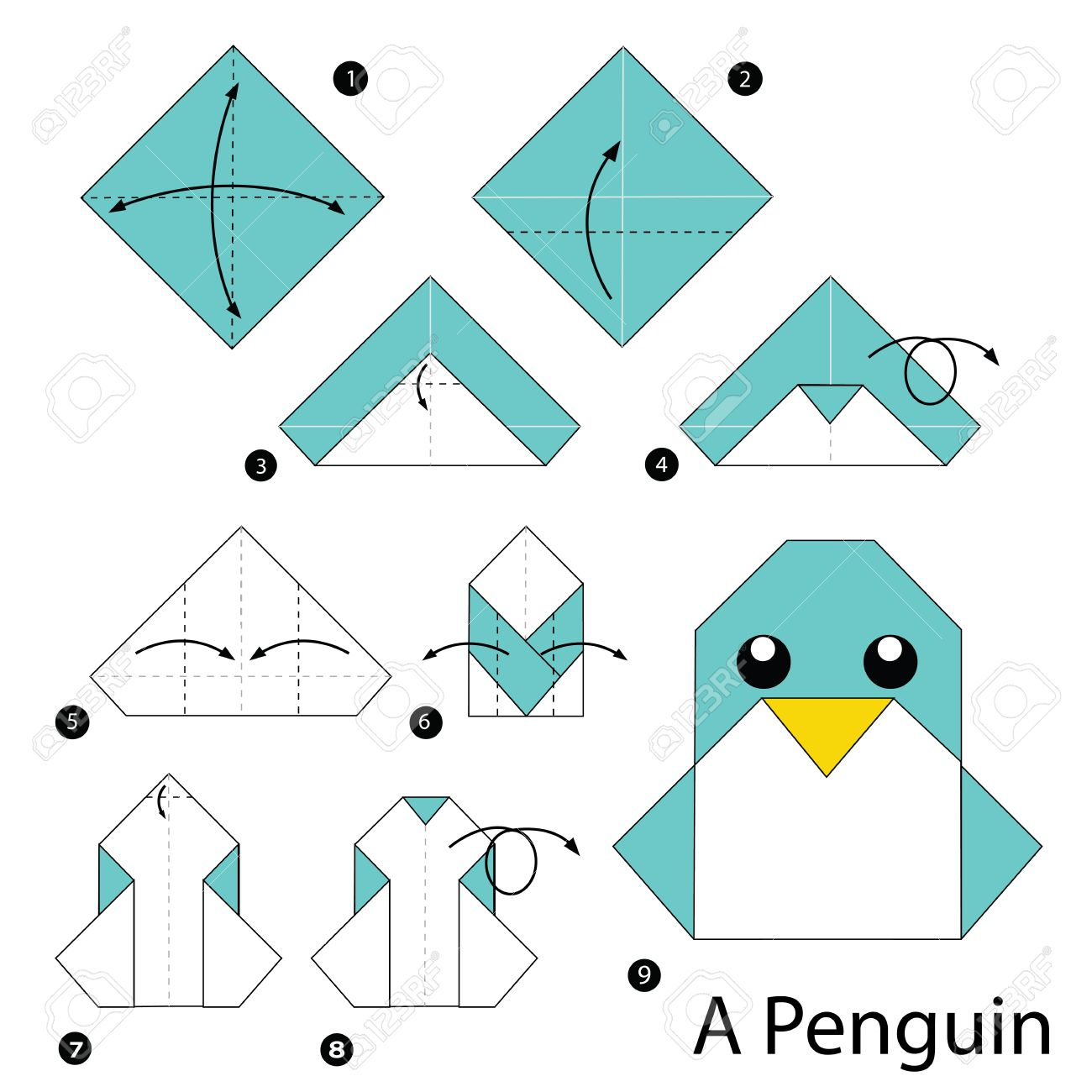 Step By Step Instructions How To Make Origami Penguin Royalty Free