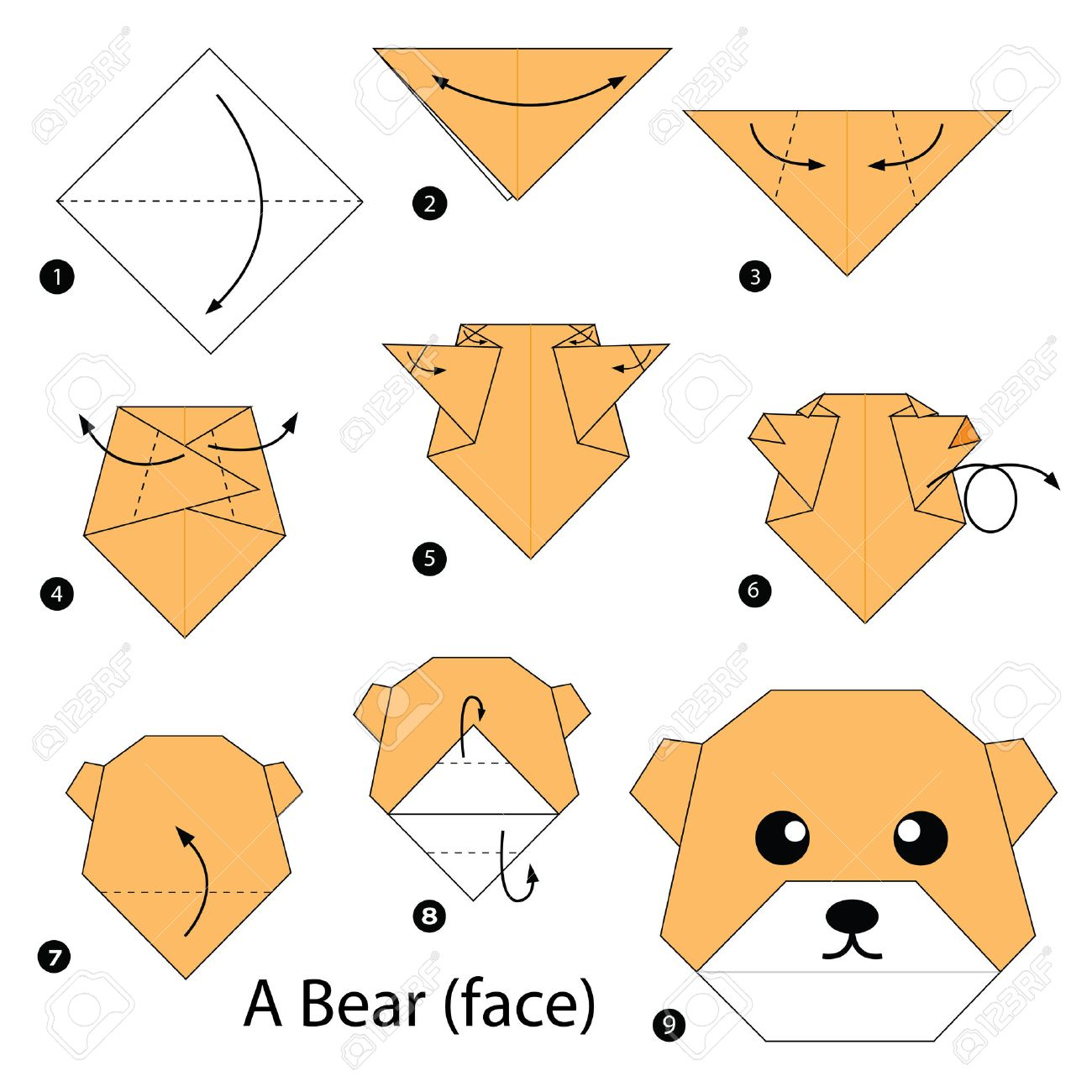 Step By Instructions How To Make Origami A Bear Stock Vector