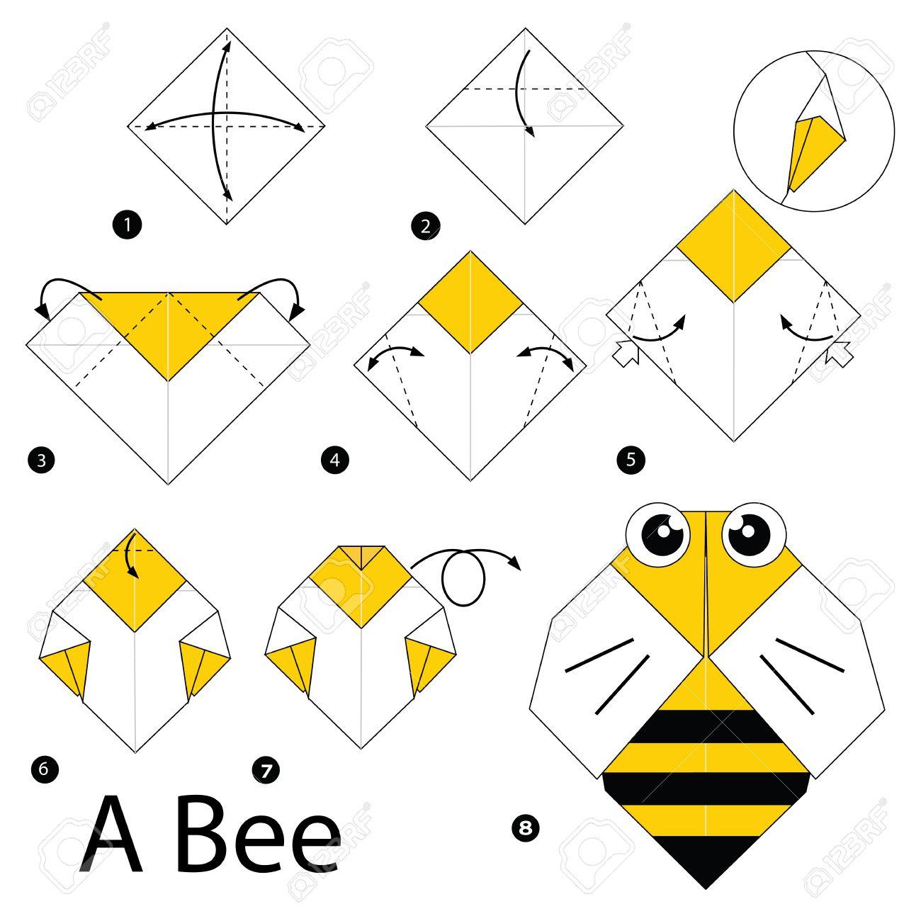 Schritt Für Schritt Anleitung Wie Man Origami Eine Biene Zu Machen