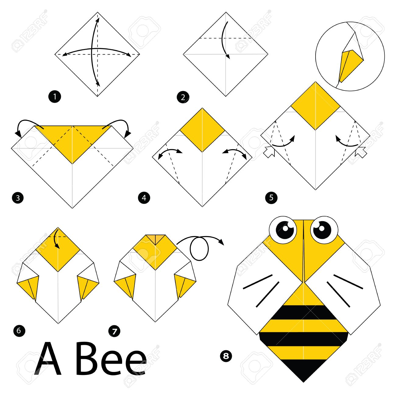 Step By Step Instructions How To Make Origami A Bee Royalty Free