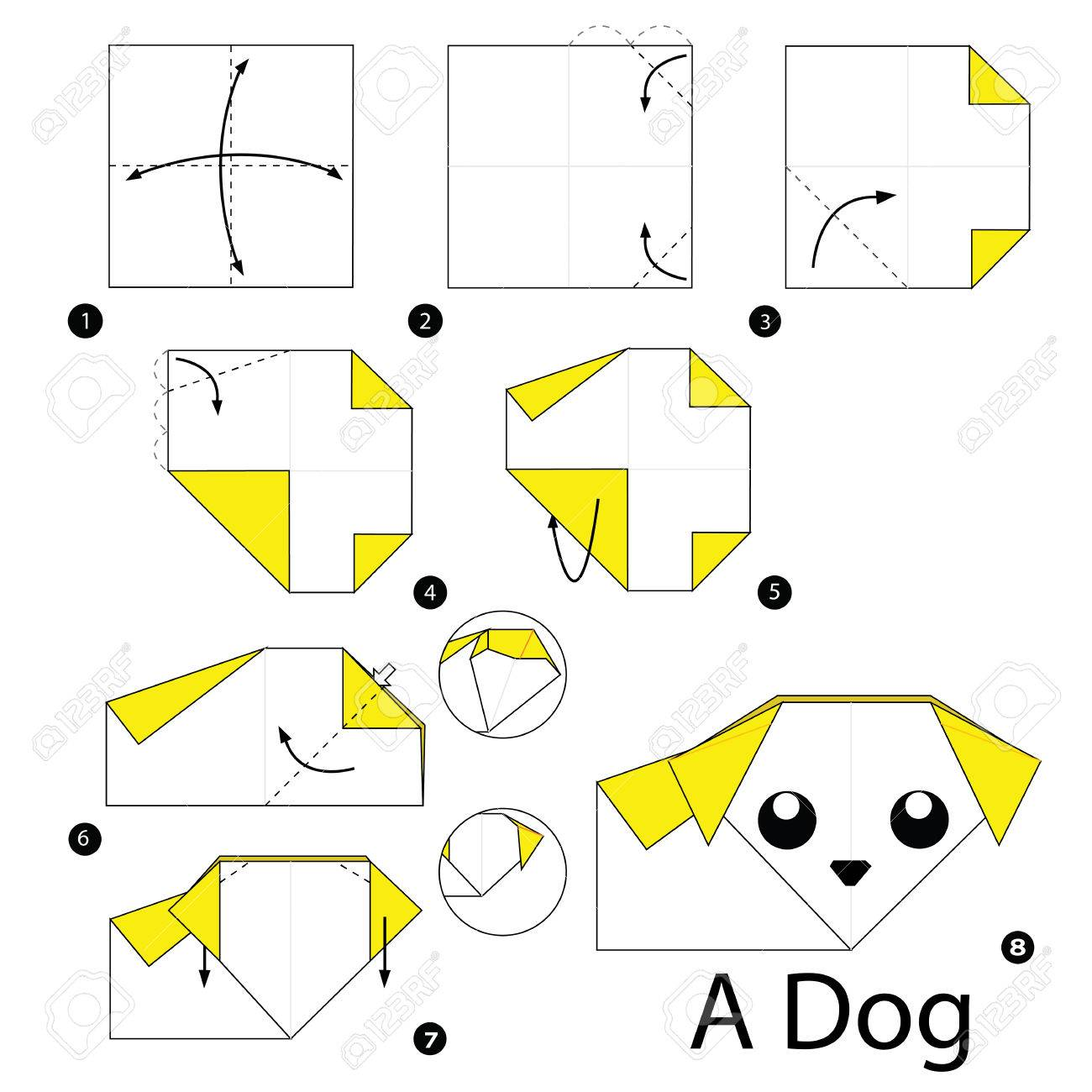 Step by step instructions how to make origami a dog royalty free step by step instructions how to make origami a dog stock vector 48140524 jeuxipadfo Image collections