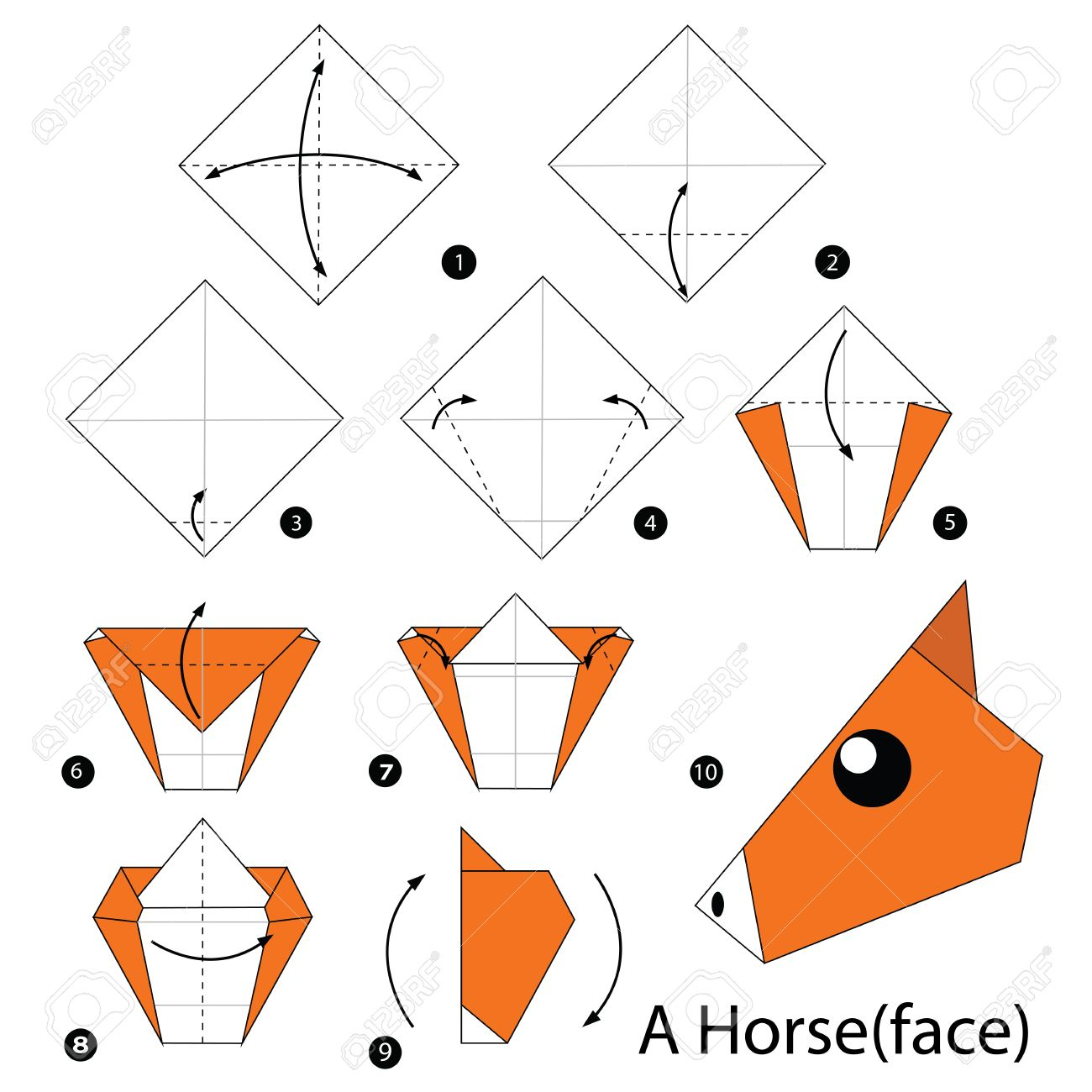 Step By Step Instructions How To Make Origami A Horse Royalty Free