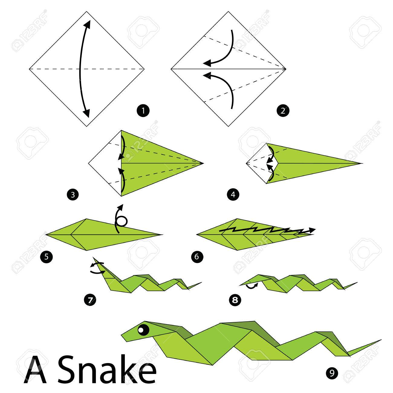 step by step instructions how to make origami A Snake