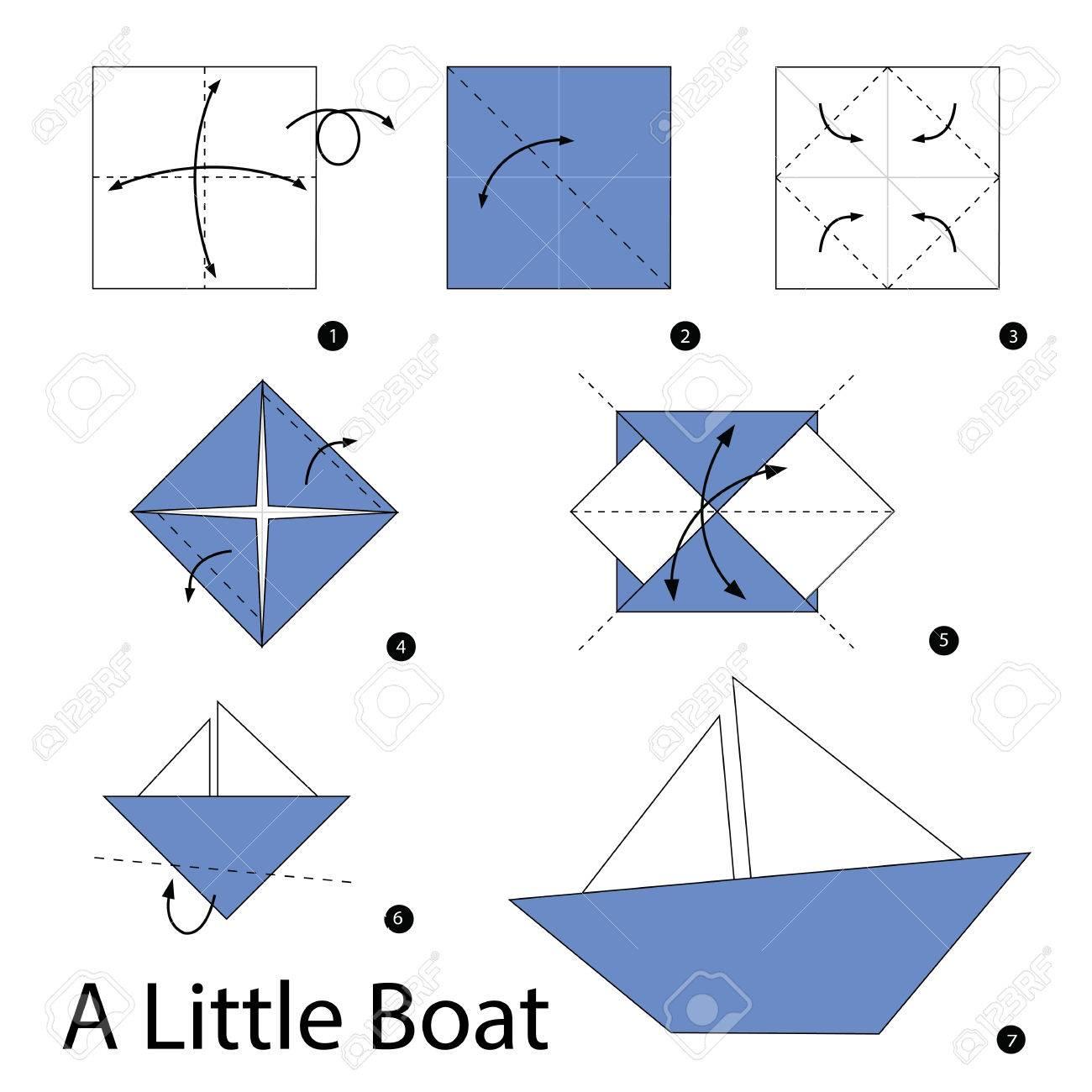 Des Instructions Etape Par Etape Comment Faire L Origami Un Bateau Clip Art Libres De Droits Vecteurs Et Illustration Image 49870997
