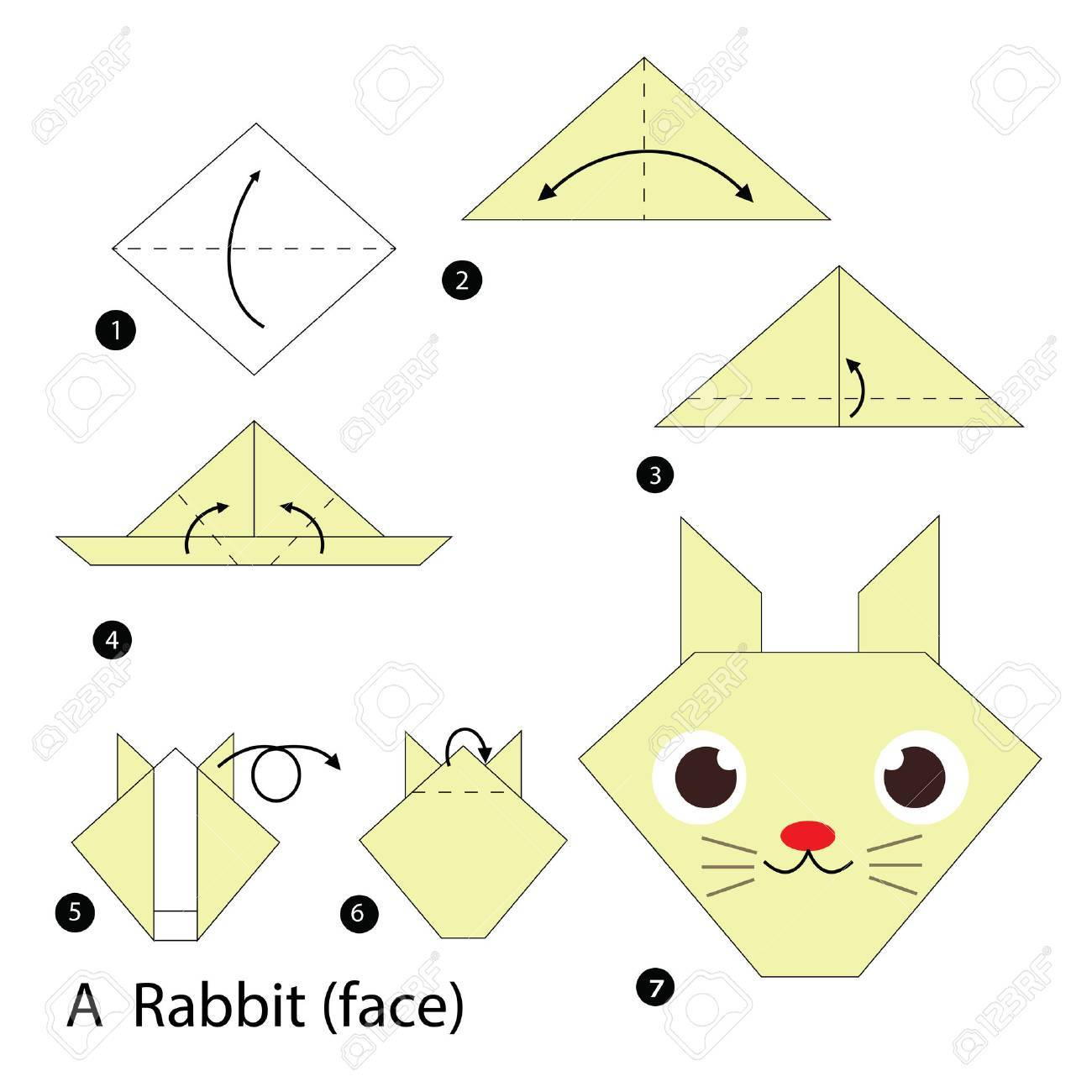 How to Make an Origami Rabbit Face Step by Step Instructions | Free  Printable Papercraft Templates | 1300x1300
