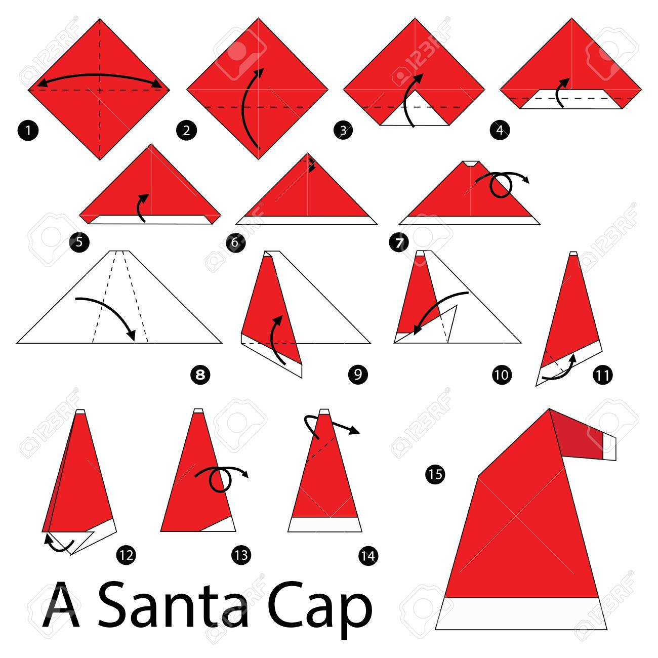 Easy Origami Santa Claus Instructions for Kids - Kids Can Make | 1300x1300