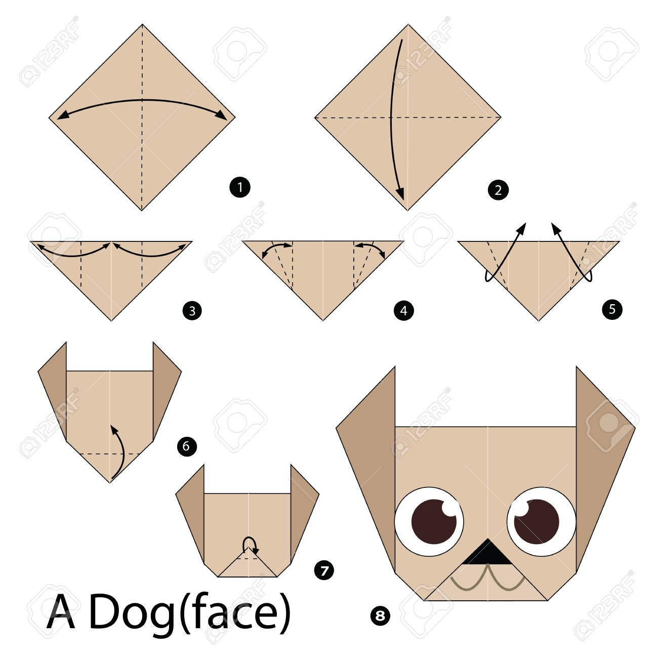 Easy Origami Dog - Tutorial - How to make an easy origami Dog ... | 1300x1300